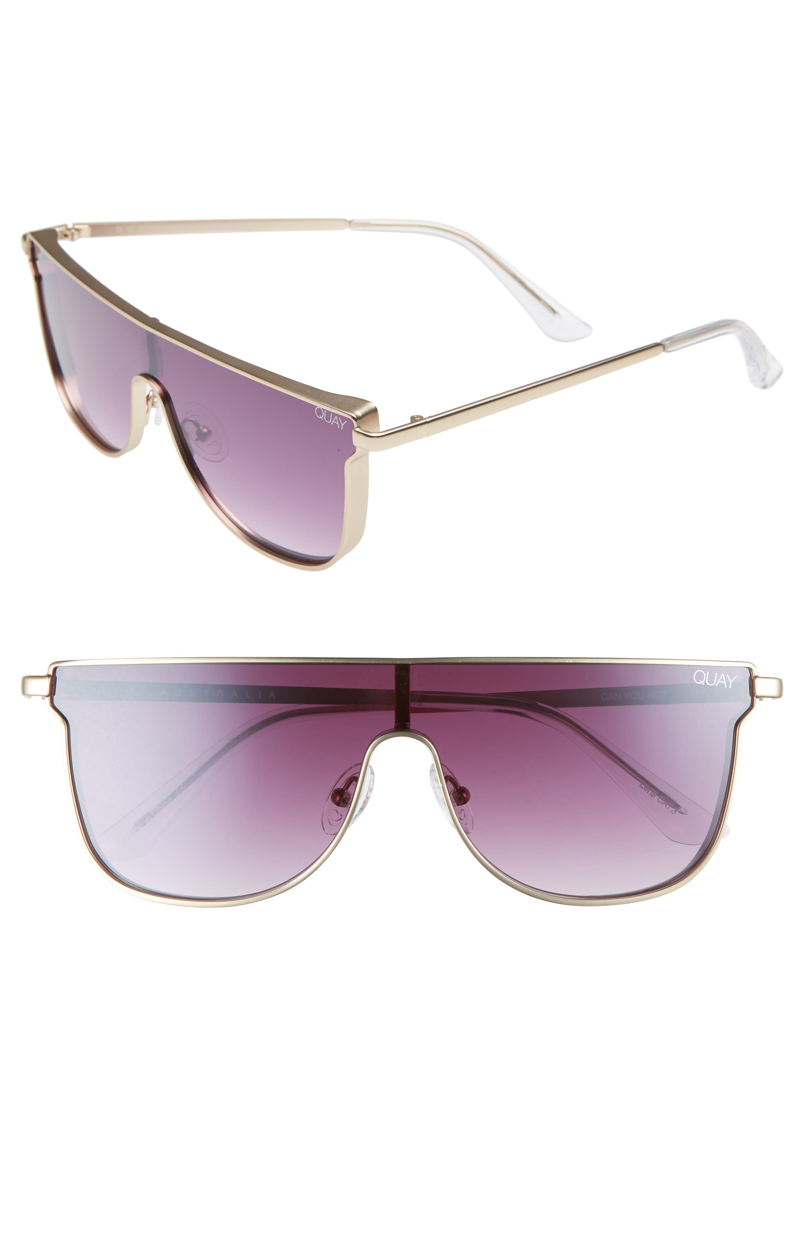 QUAY CAN YOU NOT 140MM SHIELD SUNGLASSES - GOLD/ PURPLE