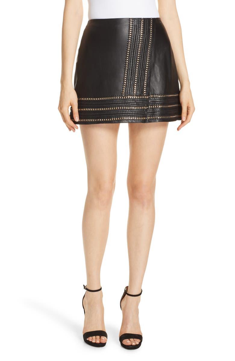 Jaya Chain Detail Leather Miniskirt