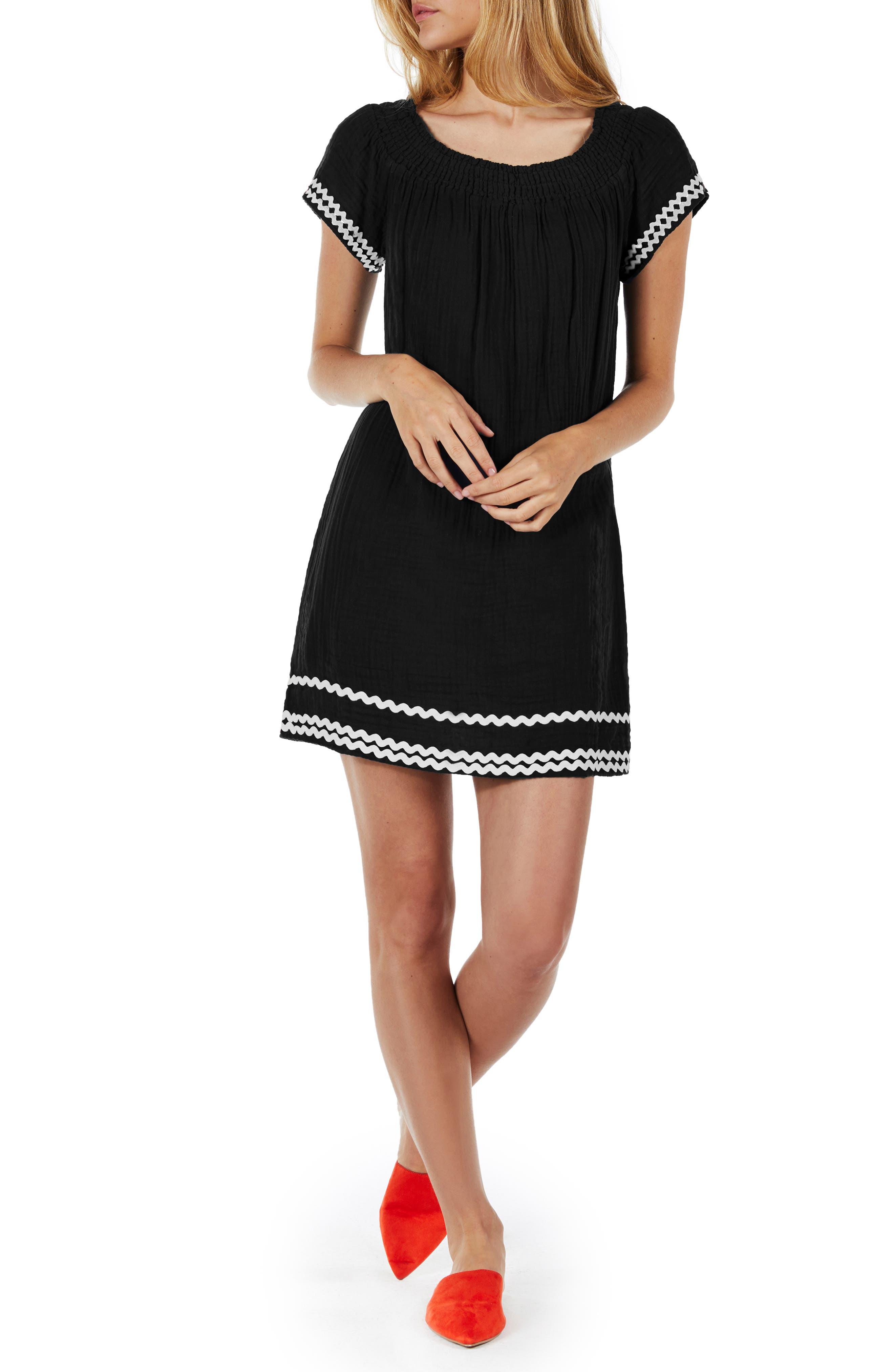 Rickrack Trim Peasant Dress,                         Main,                         color, Black
