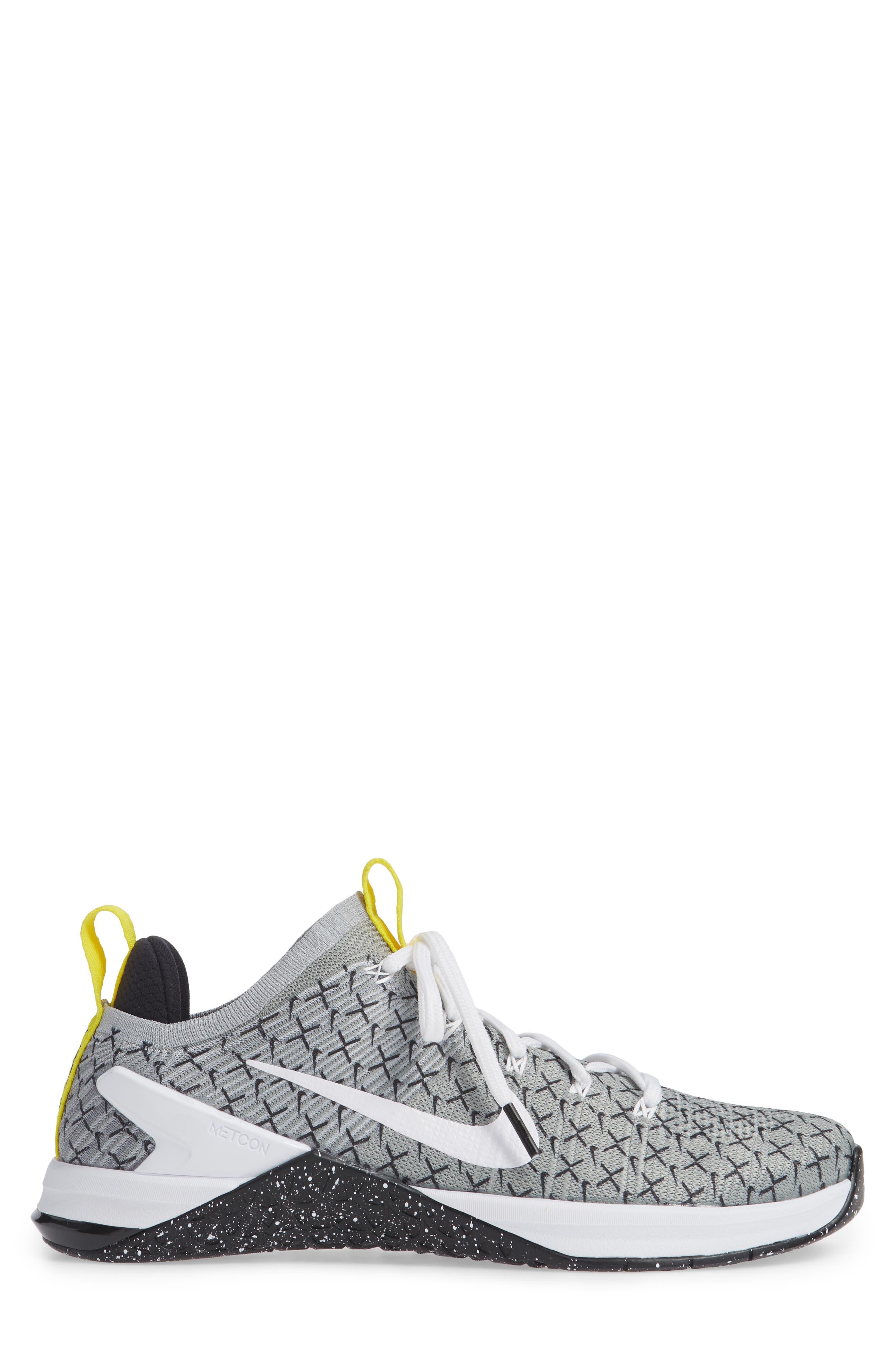 Metcon DSX Flyknit 2 Training Shoe,                             Alternate thumbnail 6, color,                             Black/ White/ Yellow
