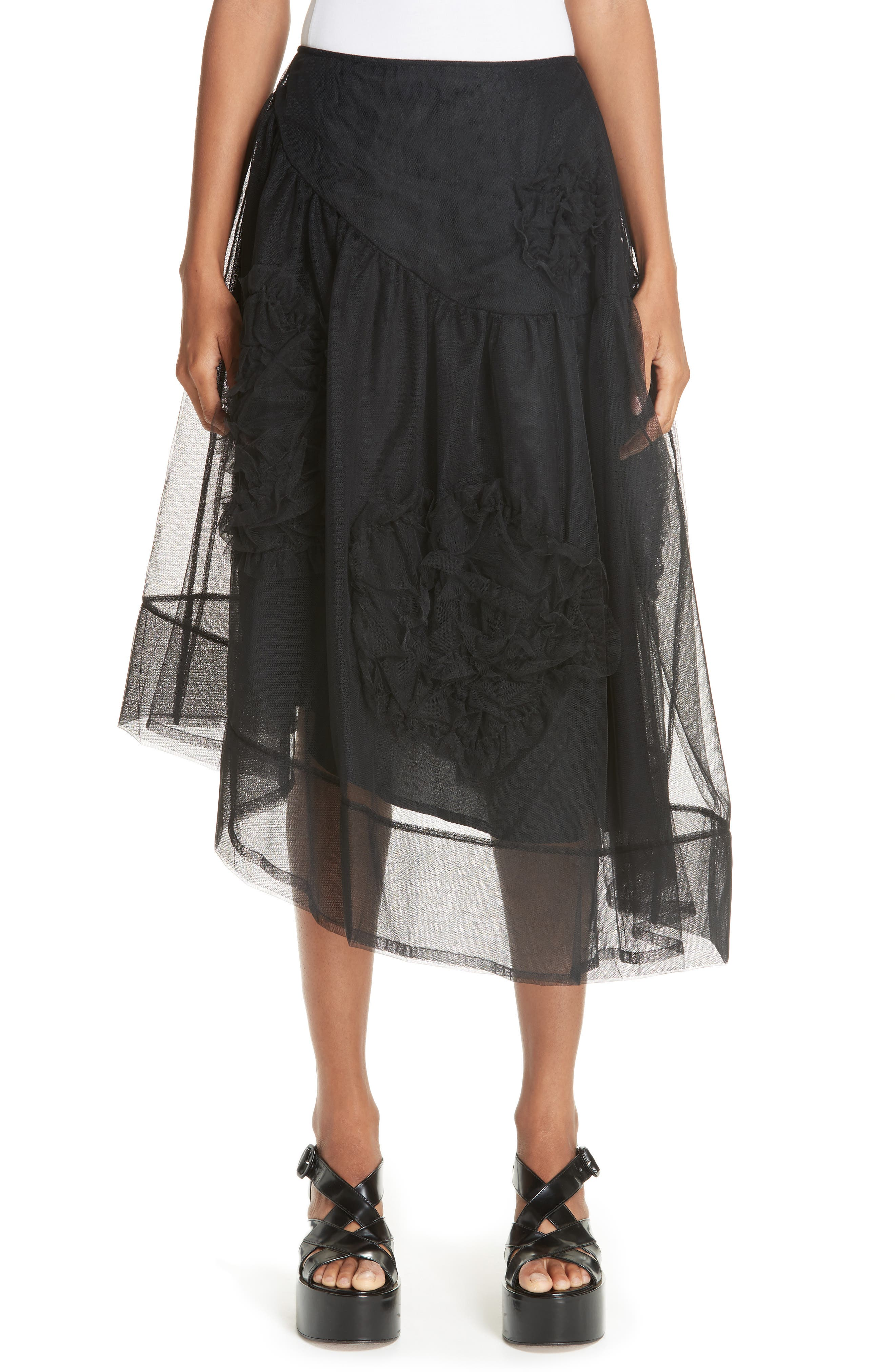 RUCHED FLOWER TULLE SKIRT