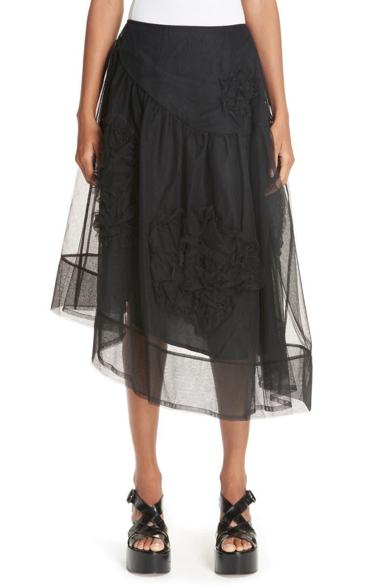 Ruched Flower Tulle Skirt