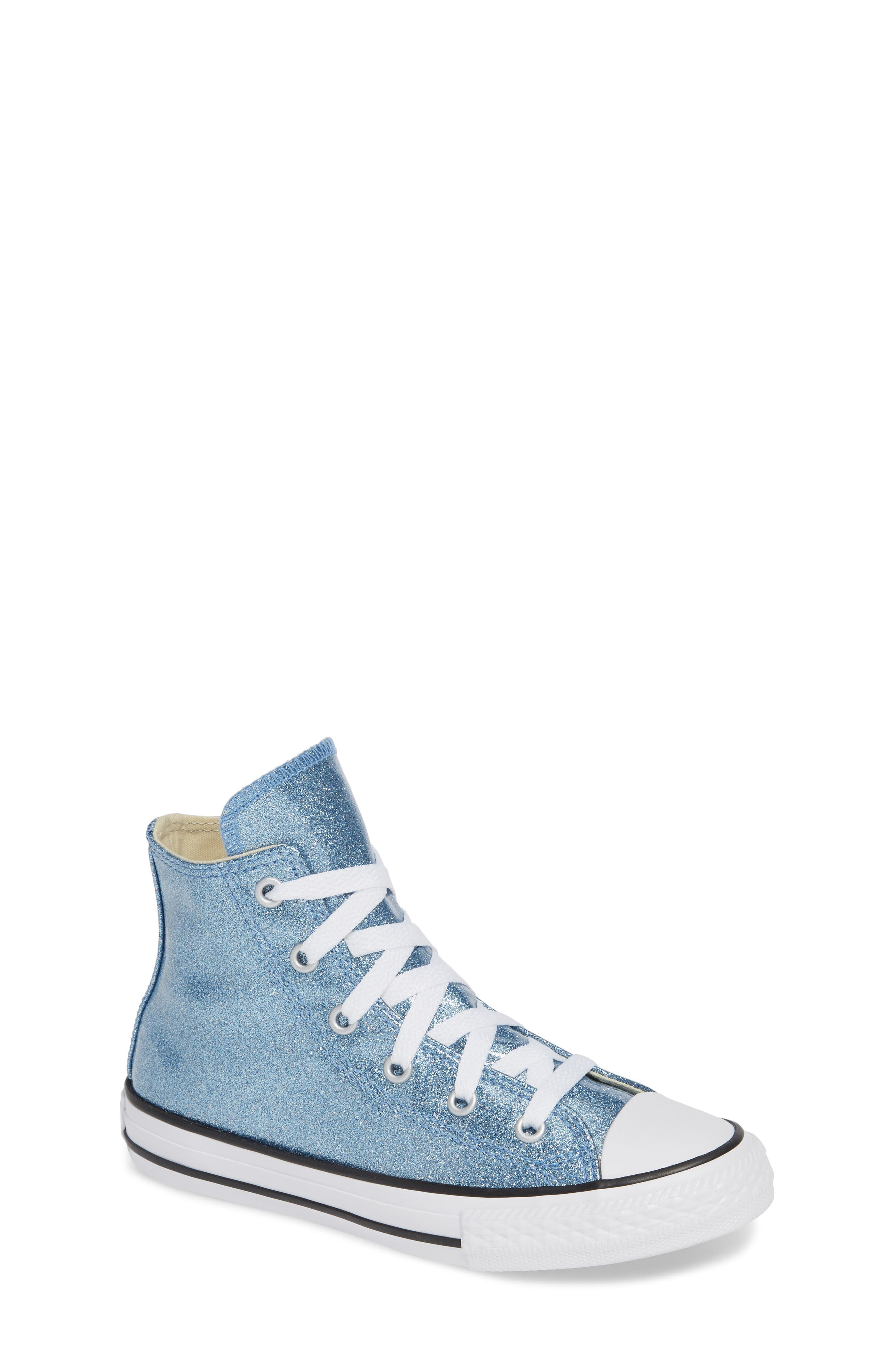 All Star<sup>®</sup> Glitter High Top Sneaker,                             Main thumbnail 1, color,                             Light Blue