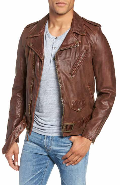 Schott NYC Hand Vintaged Cowhide Leather Motocycle Jacket 00aa508978f