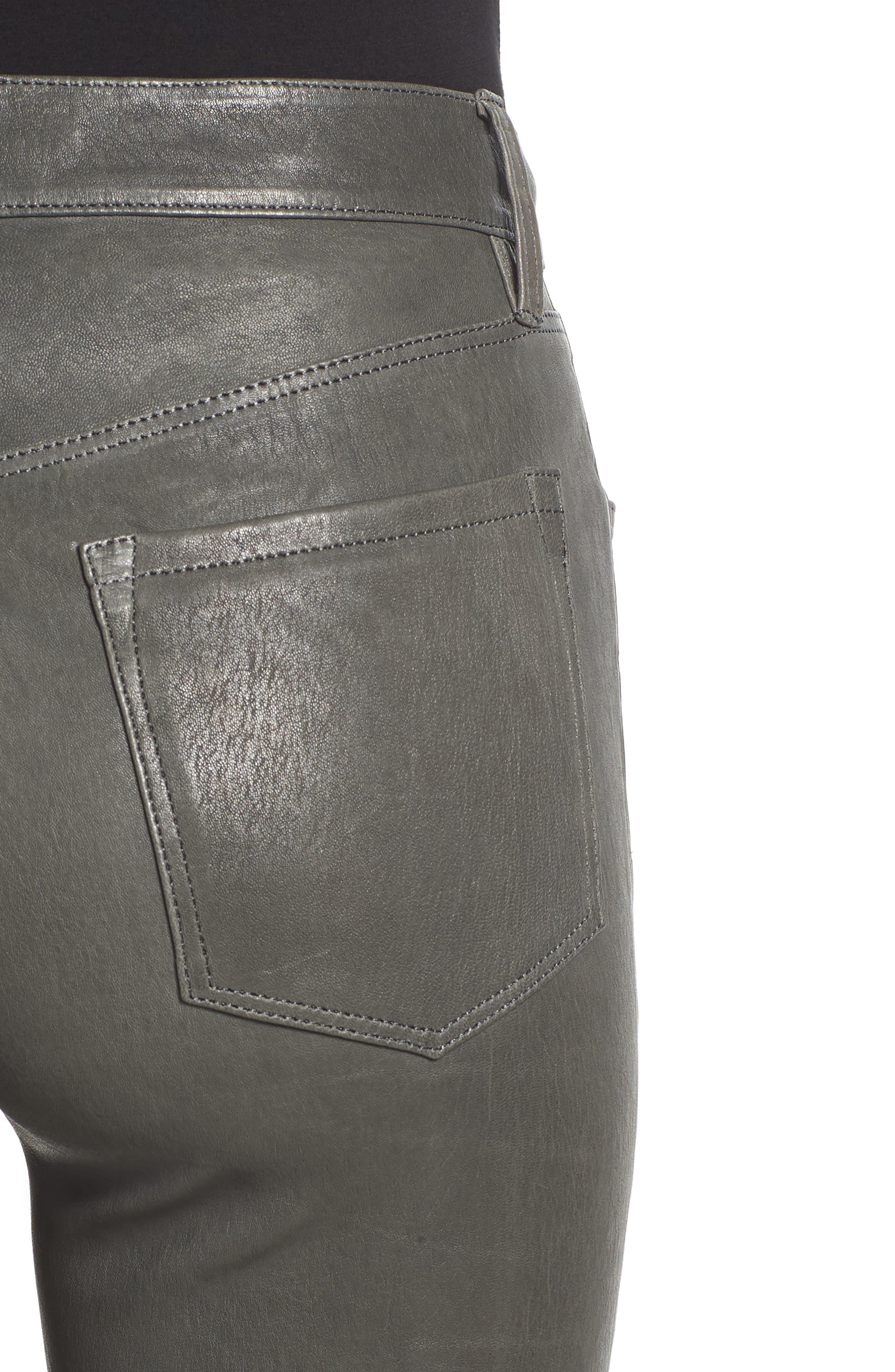 'Maria' Lambskin Leather Leggings,                             Alternate thumbnail 4, color,                             Granite