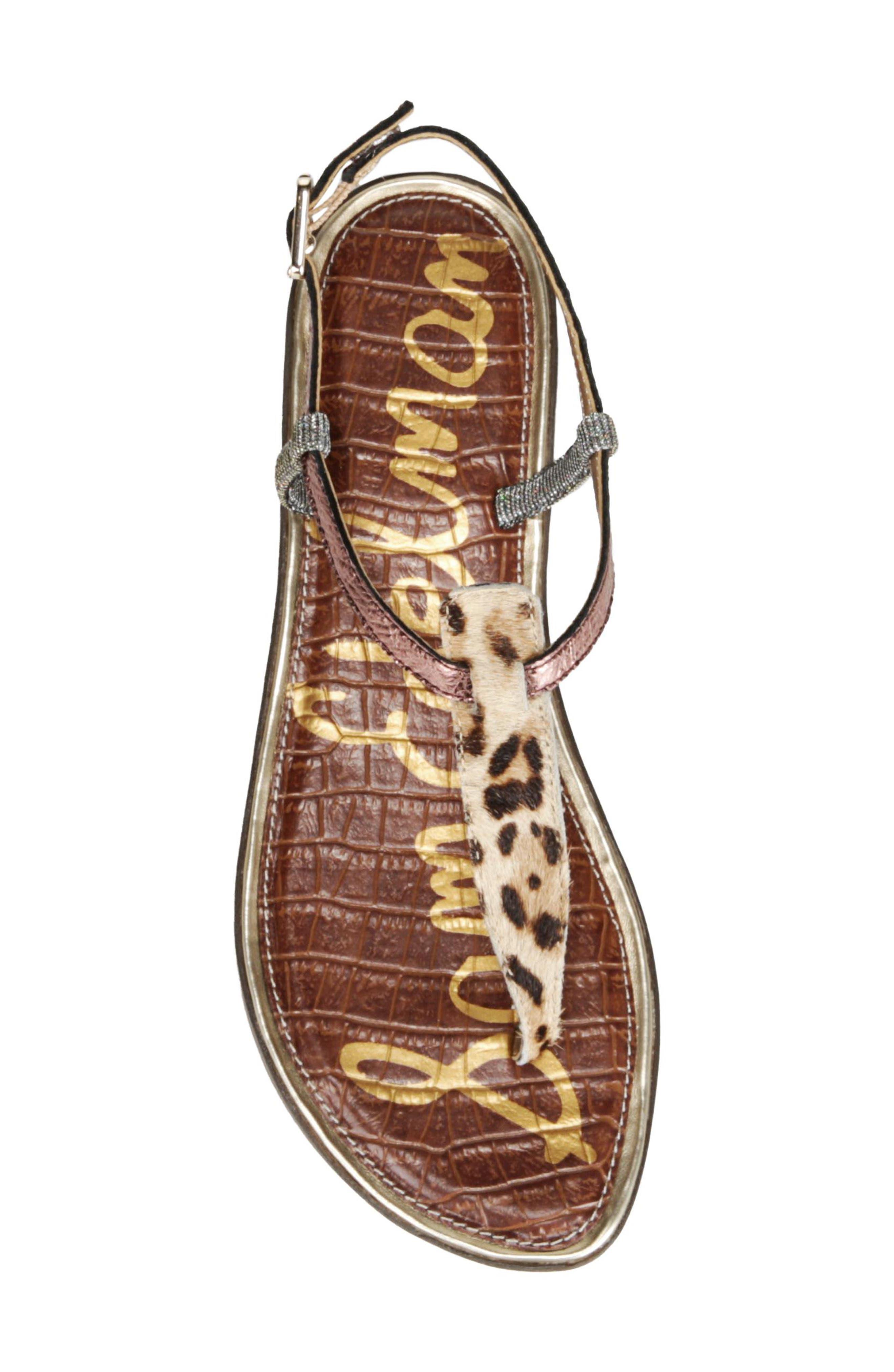 Gigi Genuine Calf Hair Sandal,                             Alternate thumbnail 5, color,                             Golden Yellow Multi
