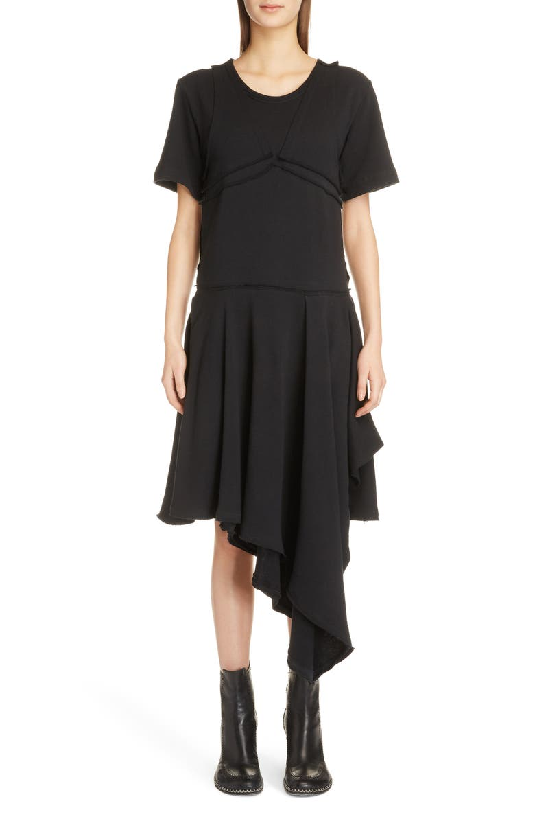 Raw Edge Asymmetrical T-Shirt Dress