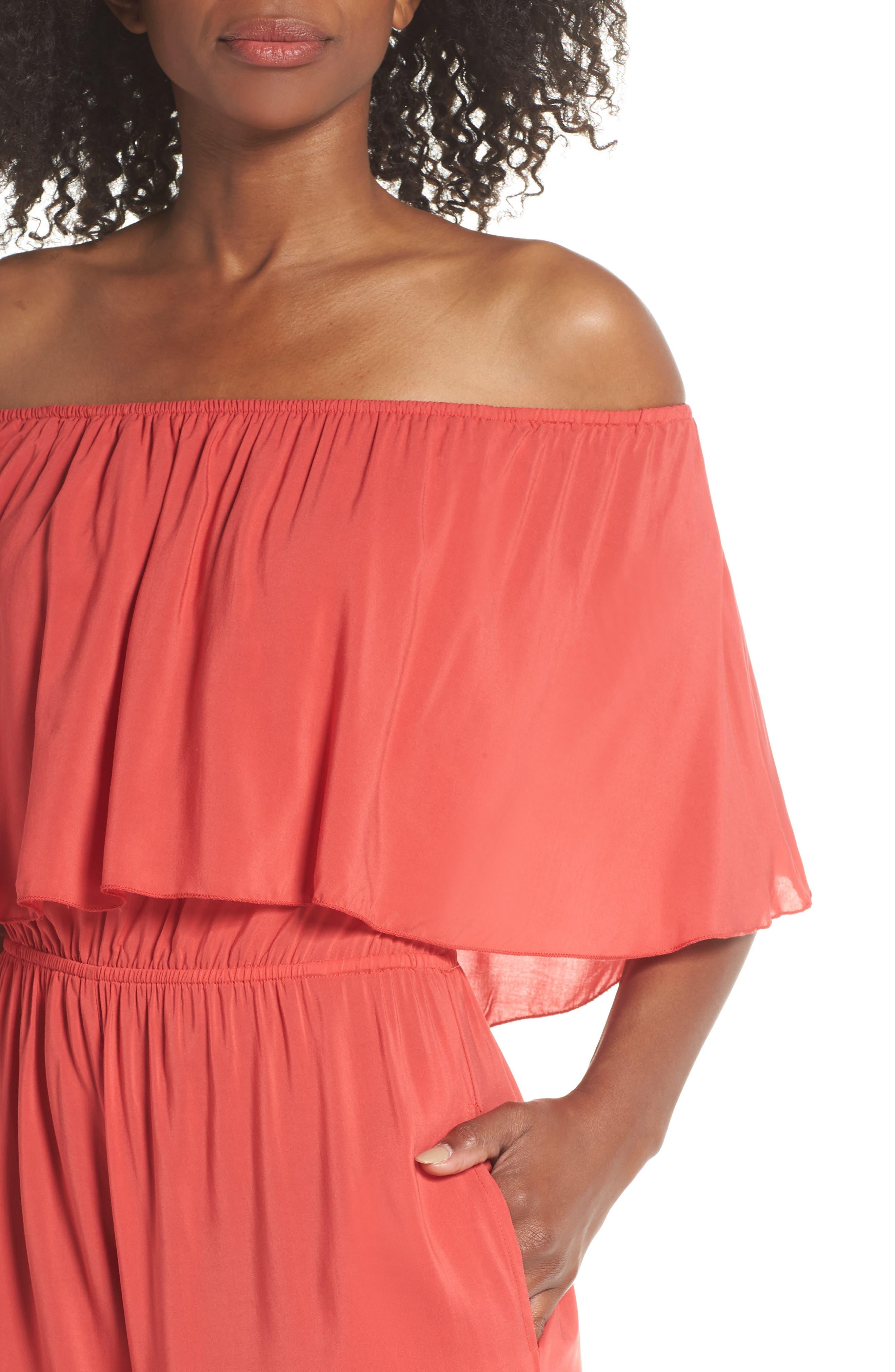 Off the Shoulder Cover-Up Jumpsuit,                             Alternate thumbnail 3, color,                             Coral