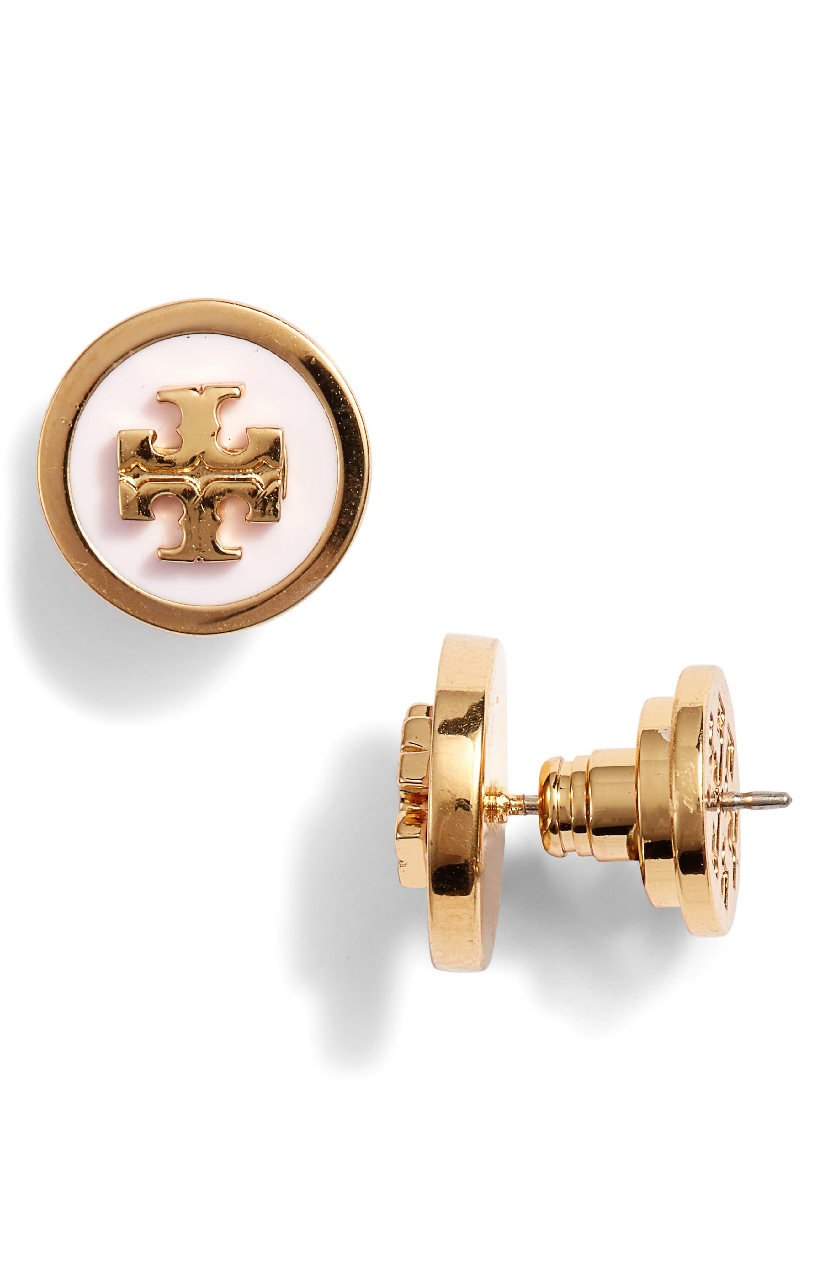 Logo Stud Earrings,                             Main thumbnail 1, color,                             Lotus Pink/ Tory Gold