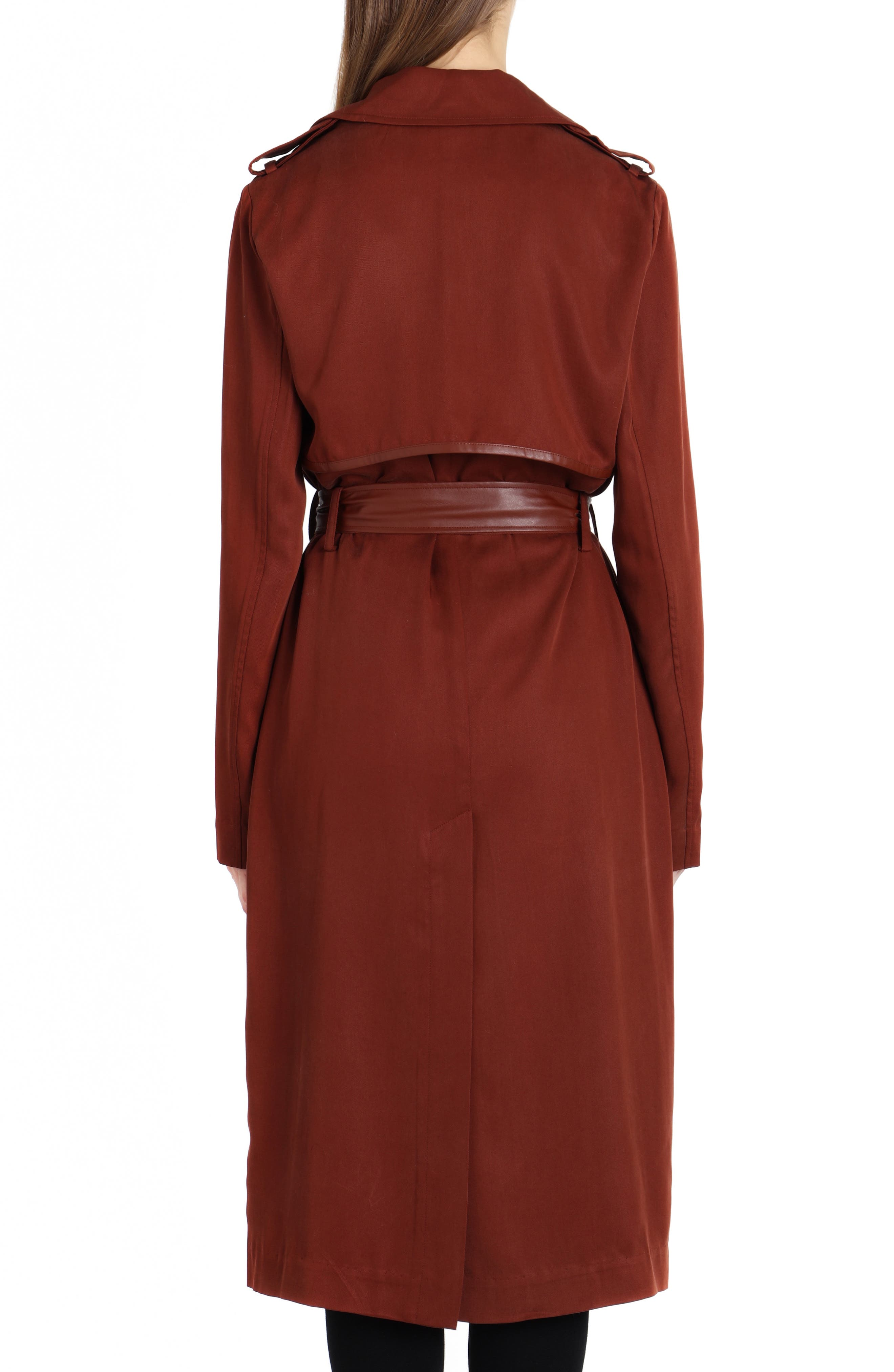 Faux Leather Trim Long Trench Coat,                             Alternate thumbnail 2, color,                             Sahara