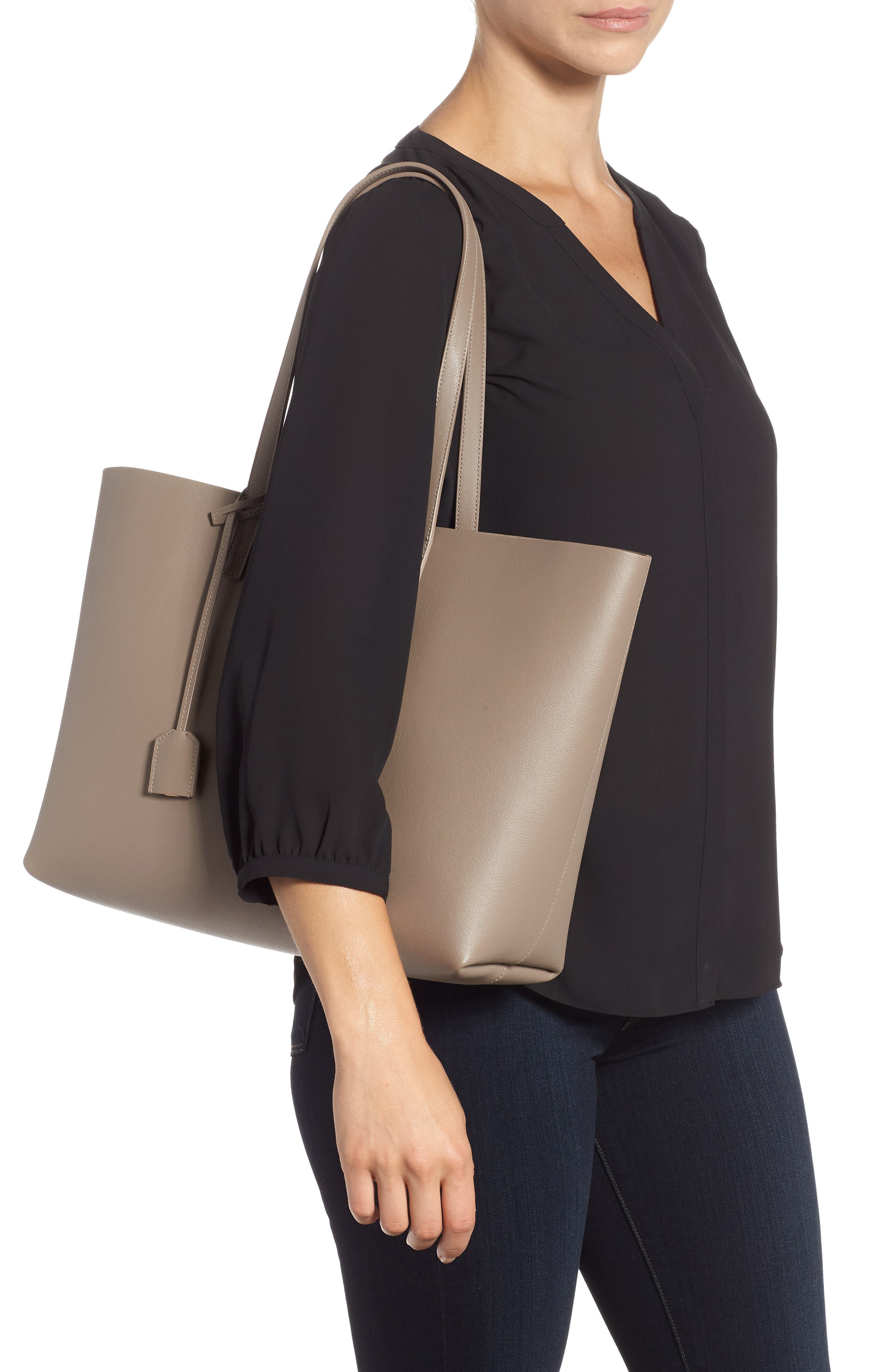 'Shopping' Leather Tote,                             Alternate thumbnail 2, color,                             Mink