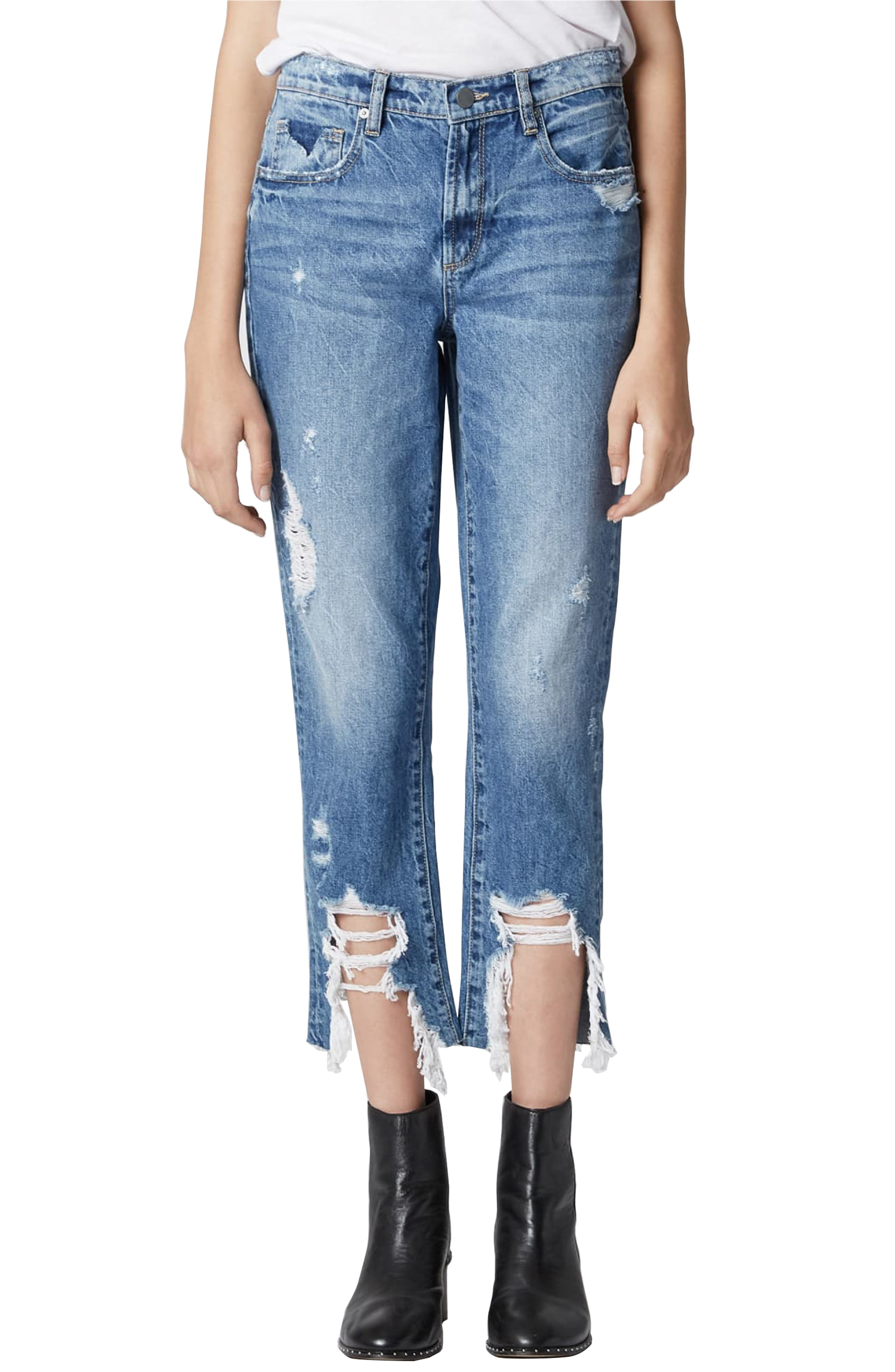 BLANKNYC THE MADISON RIPPED CROP STRAIGHT LEG JEANS