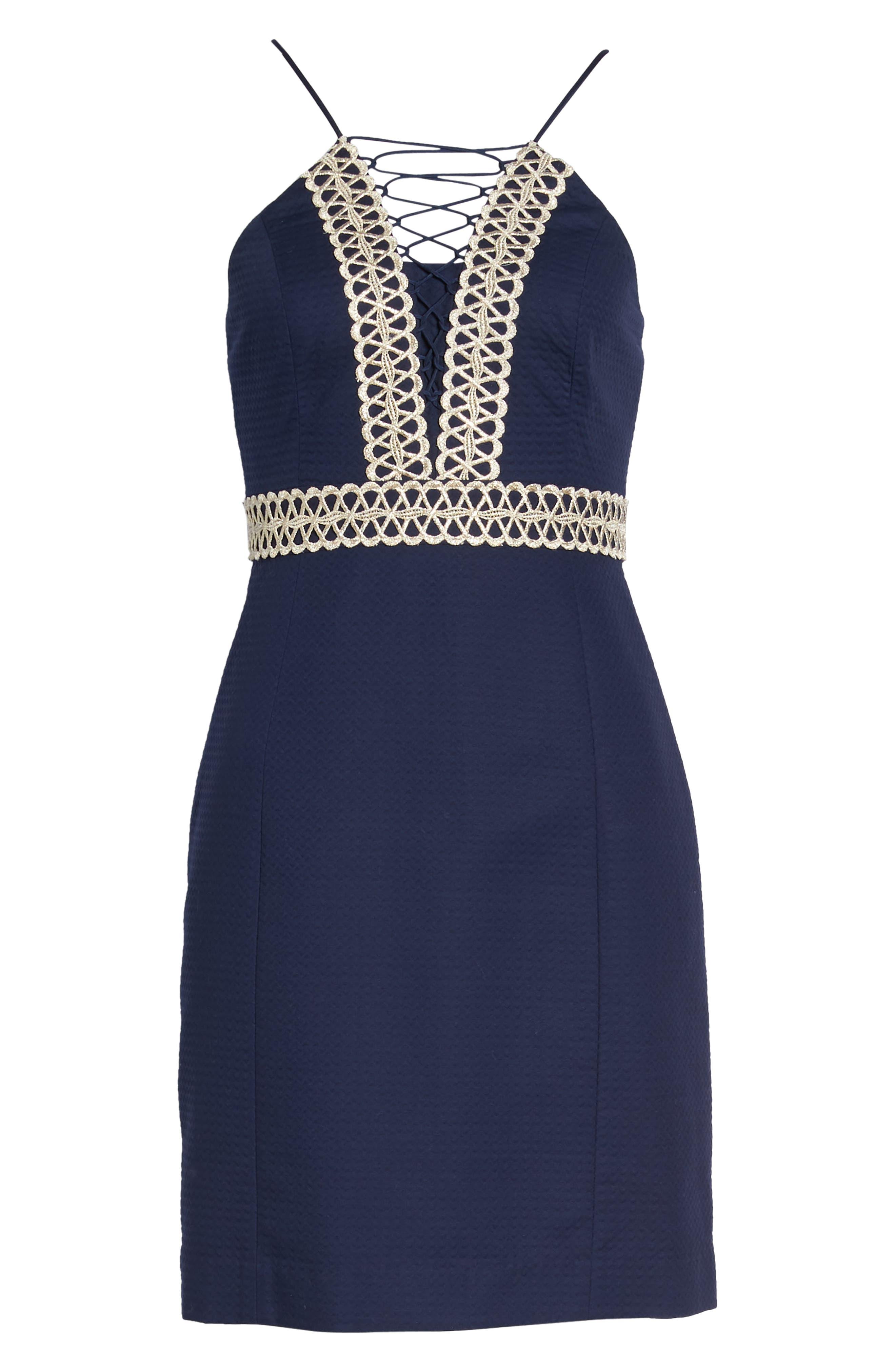 Trista Halter Sheath Dress,                             Alternate thumbnail 6, color,                             True Navy