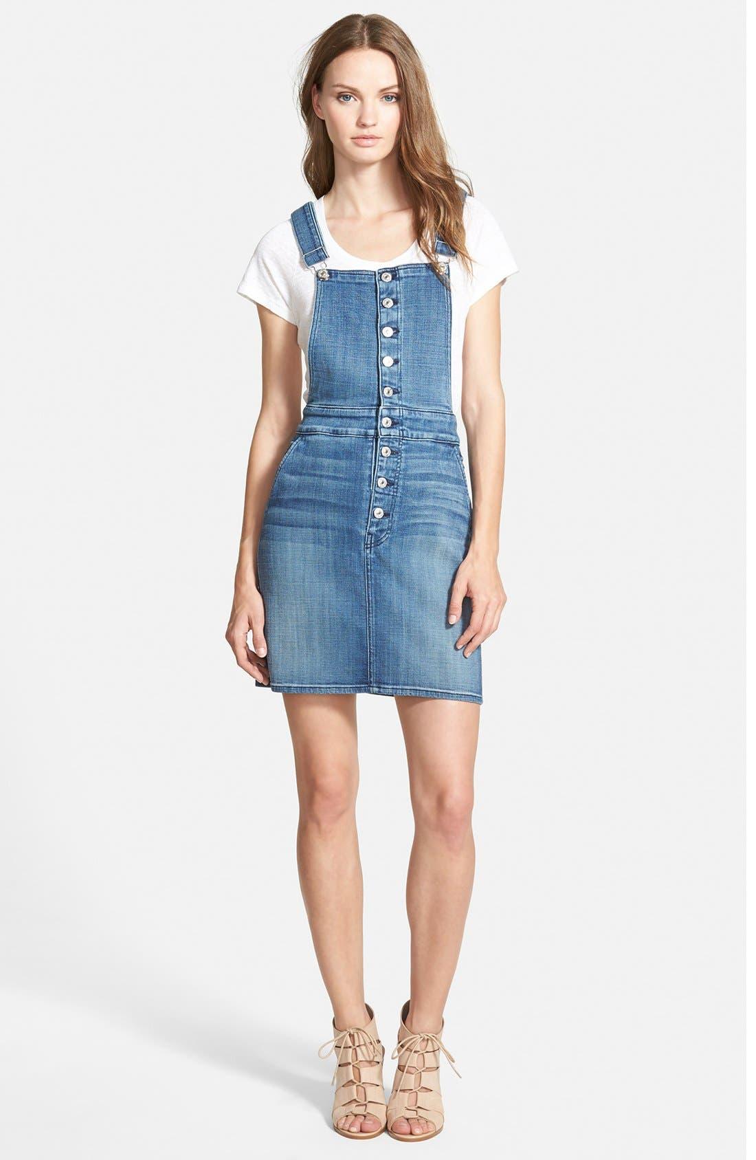 Denim Overall Skirt,                             Main thumbnail 1, color,                             Medium Broken Twill