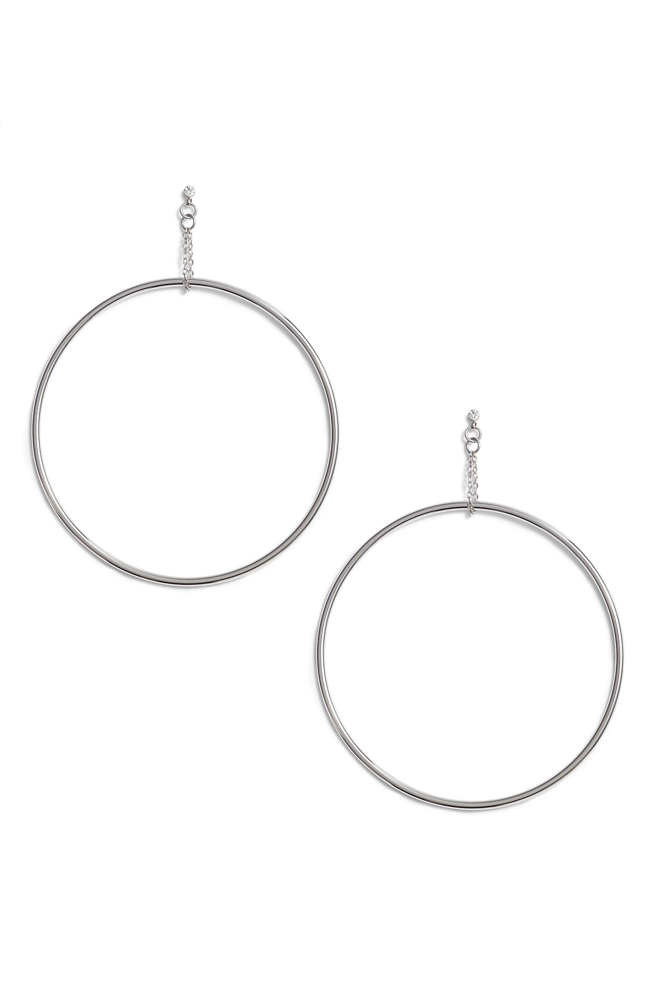 Kingsley Hoop Earrings,                             Main thumbnail 1, color,                             Silver