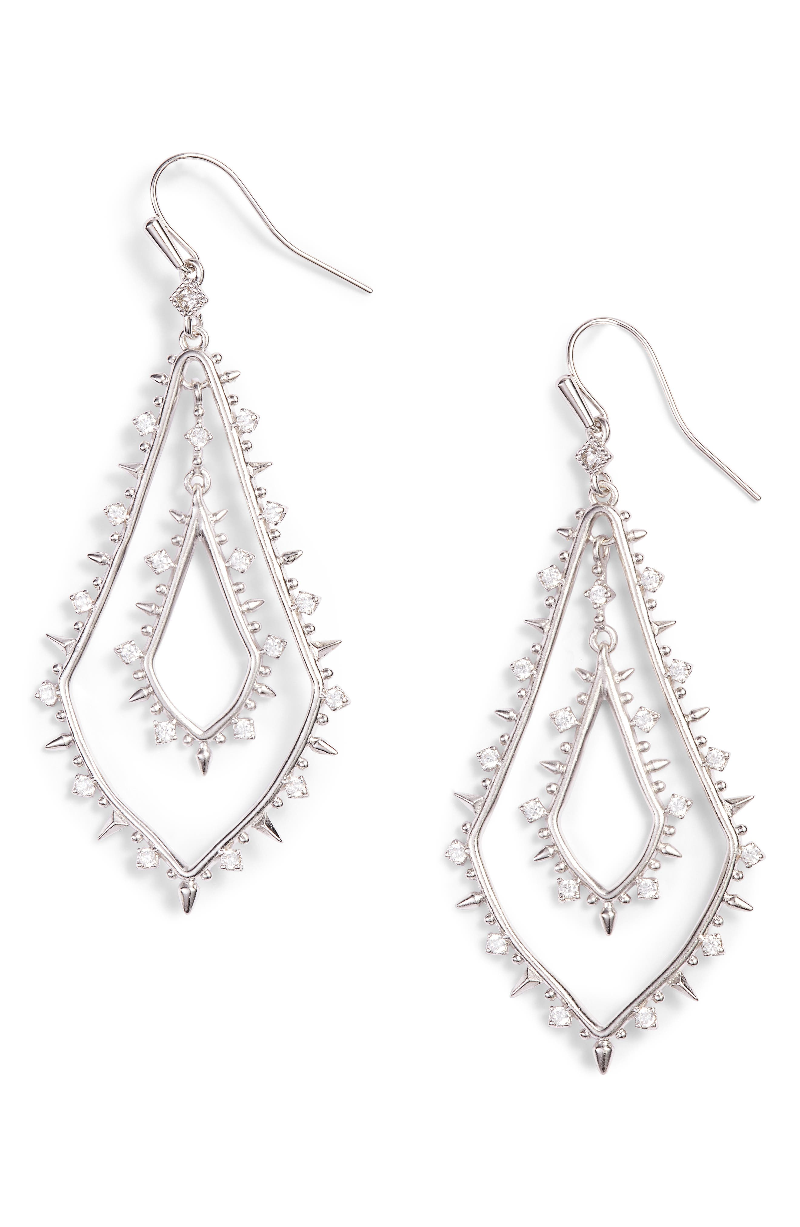 Alice Drop Earrings,                         Main,                         color, White/ Silver