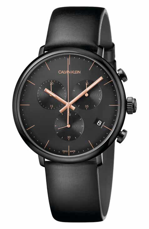 410f670a3465 Calvin Klein High Noon Chronograph Leather Strap Watch