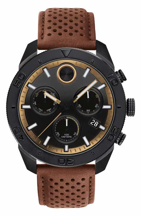 37ed6886a0f8 Movado Bold Sport Chronograph Leather Strap Watch