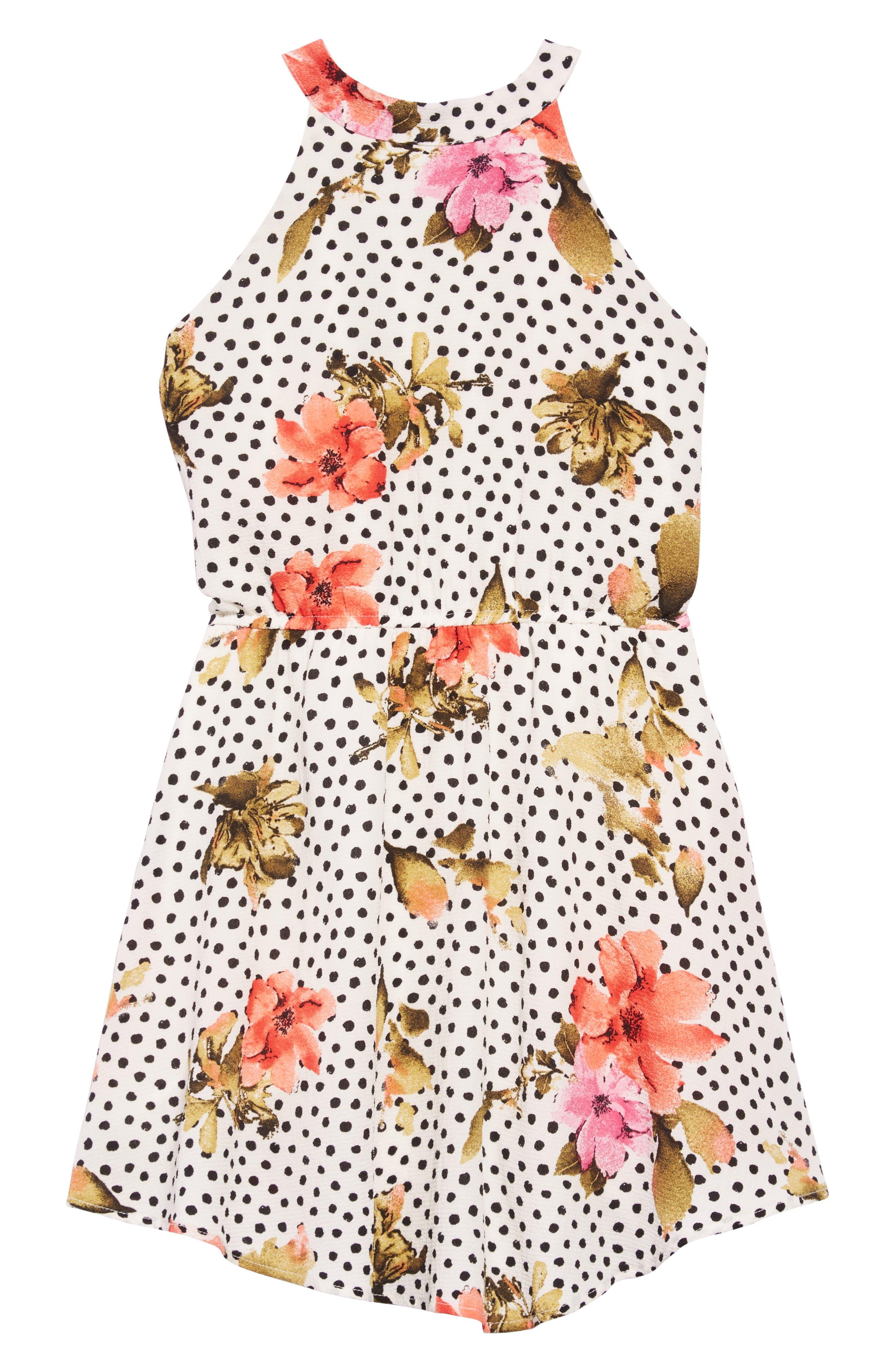Floral Mock Neck Dress,                         Main,                         color, Off White Multi