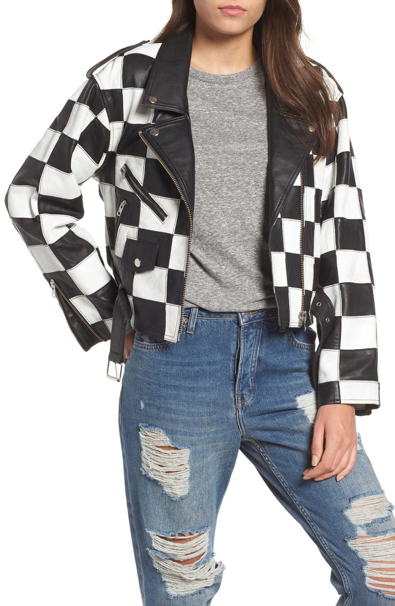 Checkerboard Leather Moto Jacket