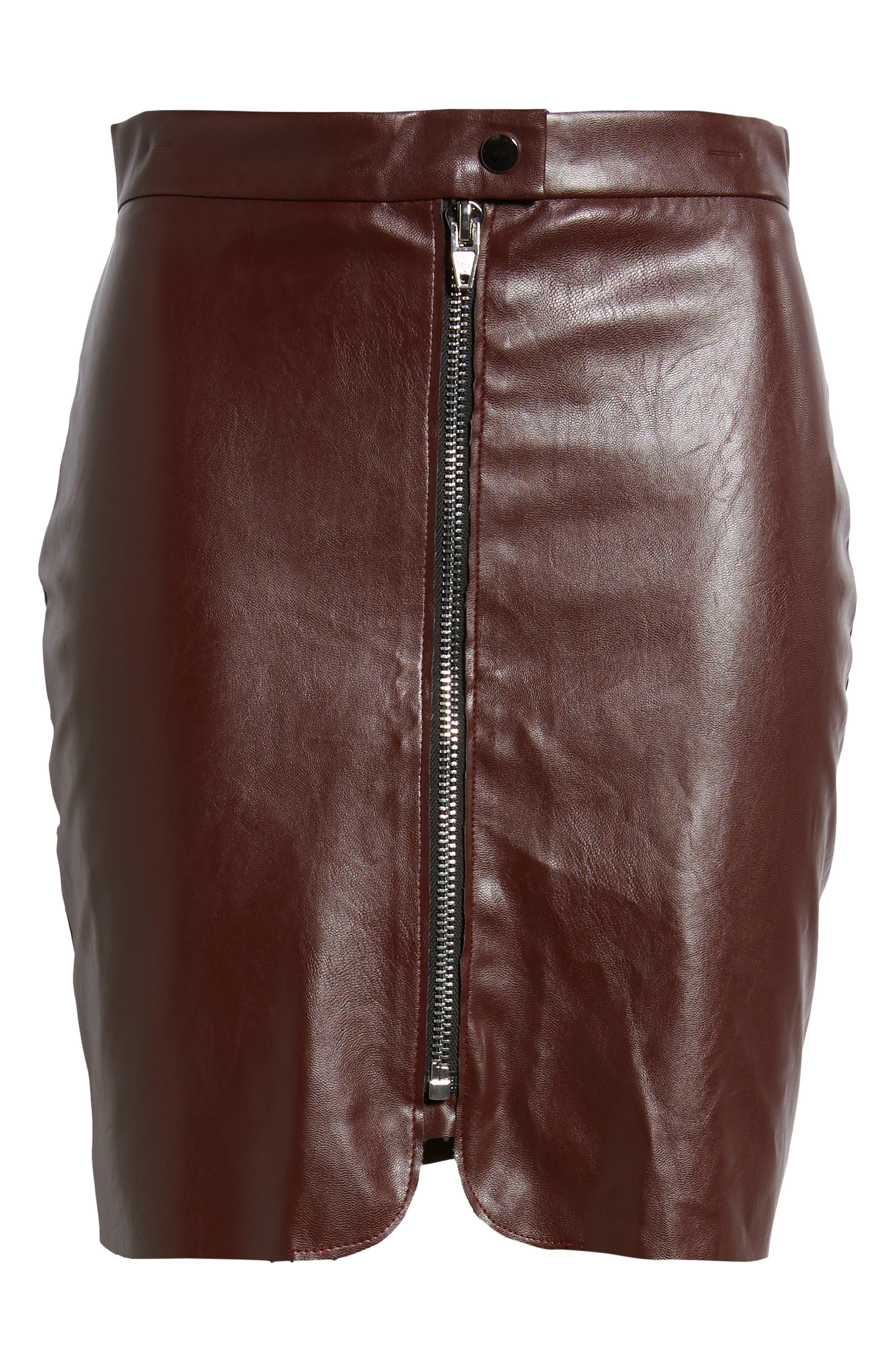 Bishop + Young Exposed Zip Miniskirt,                             Alternate thumbnail 6, color,                             Burgundy