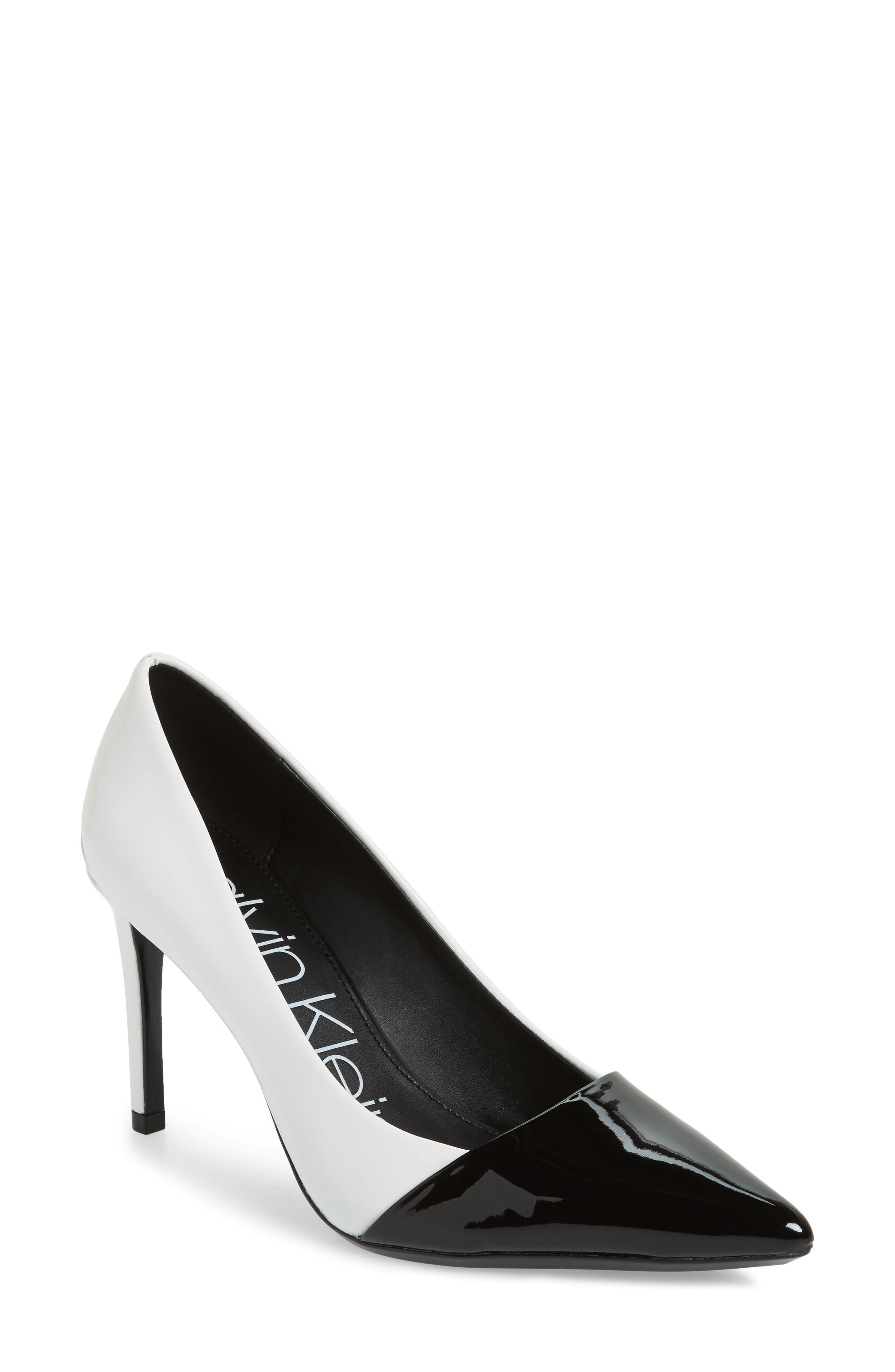 CALVIN KLEIN Roslyn, Platinum White/Black Patent Smooth/Patent