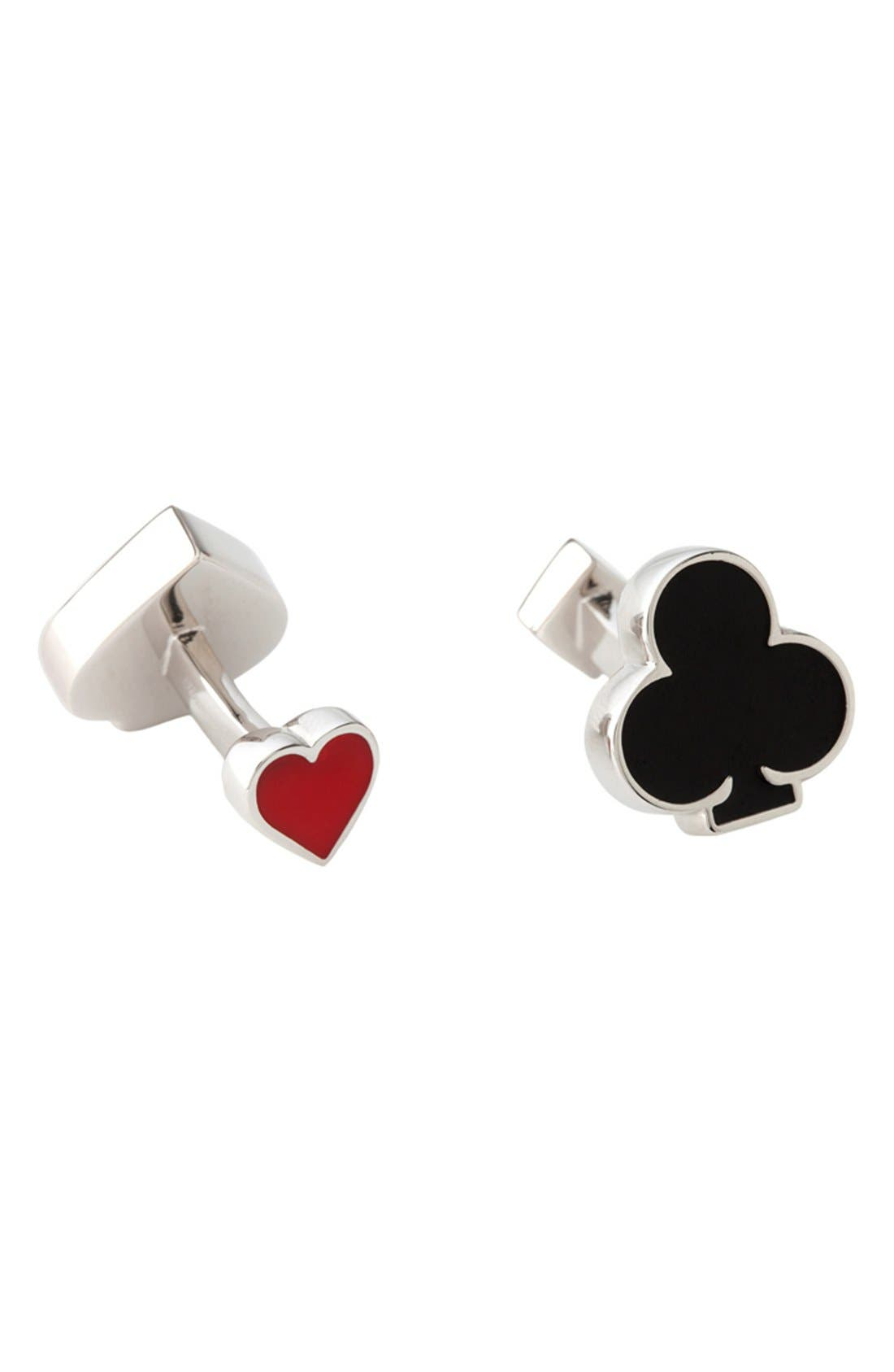 Card Suit Cuff Links,                         Main,                         color, Silver