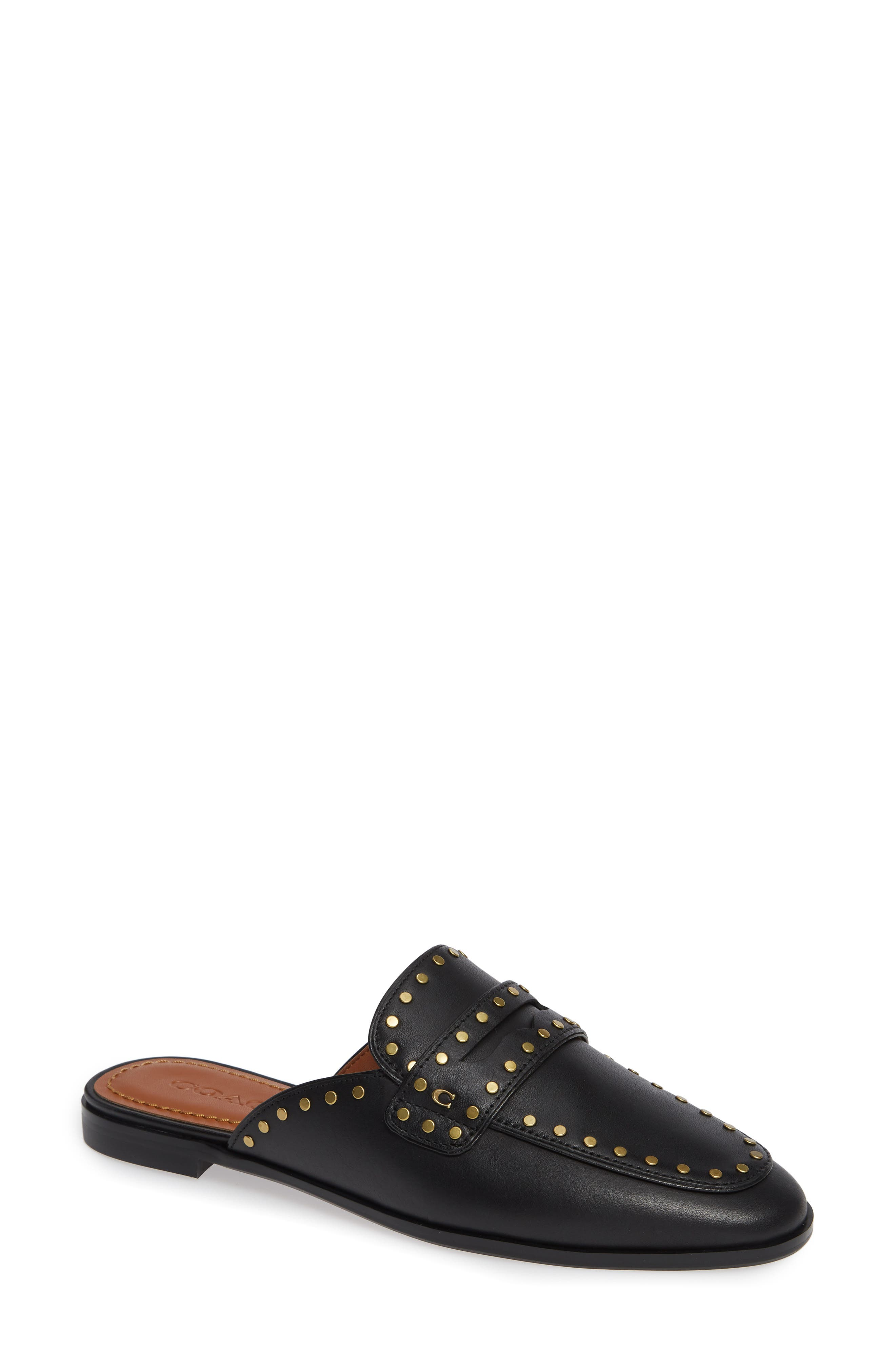 Fiona Loafer Mule,                             Main thumbnail 1, color,                             Black Elather