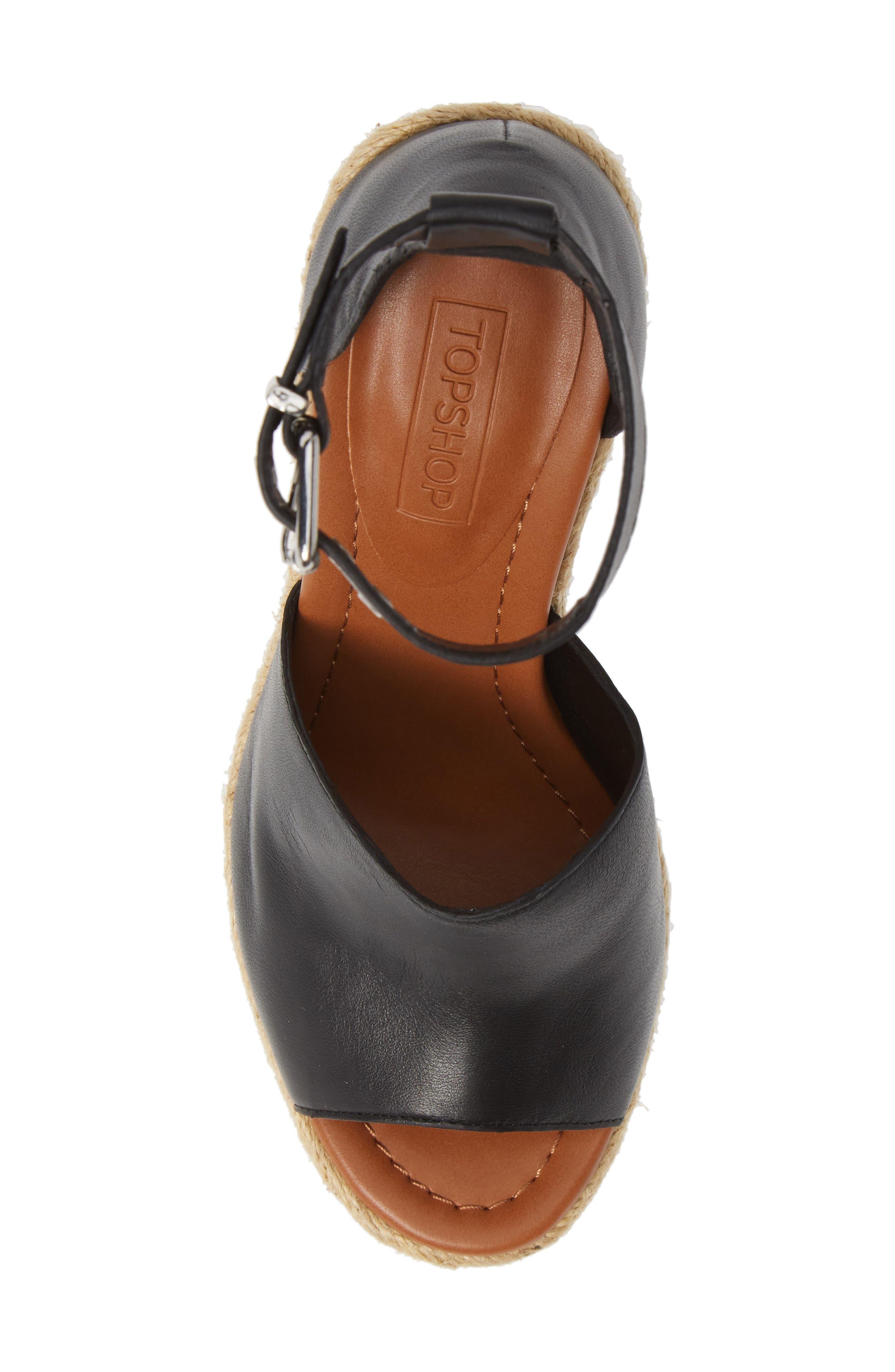 Wing Espadrille Wedge Sandal,                             Alternate thumbnail 4, color,                             Black