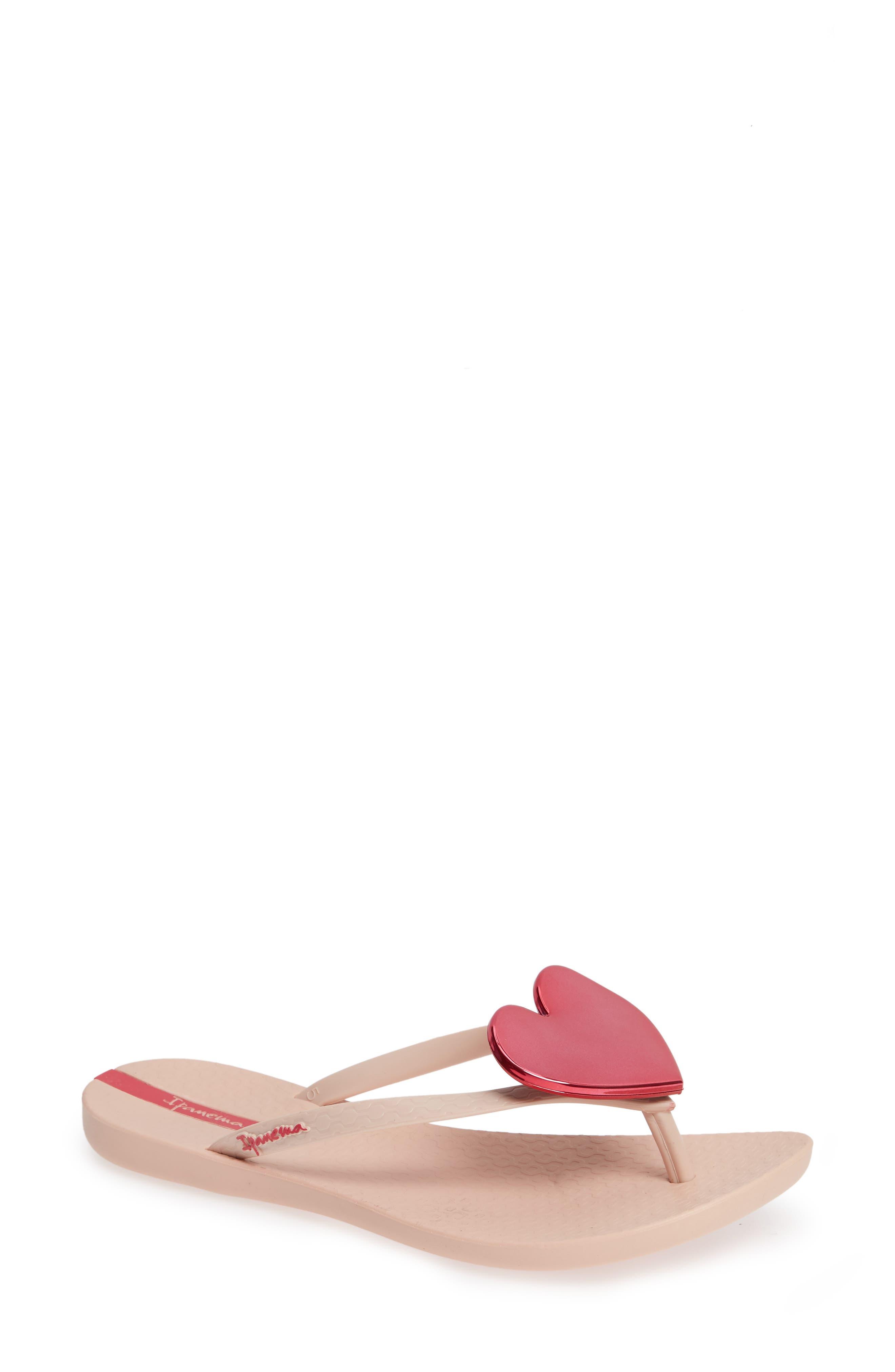 Wave Heart Flip Flop,                             Main thumbnail 1, color,                             Pink/ Pink