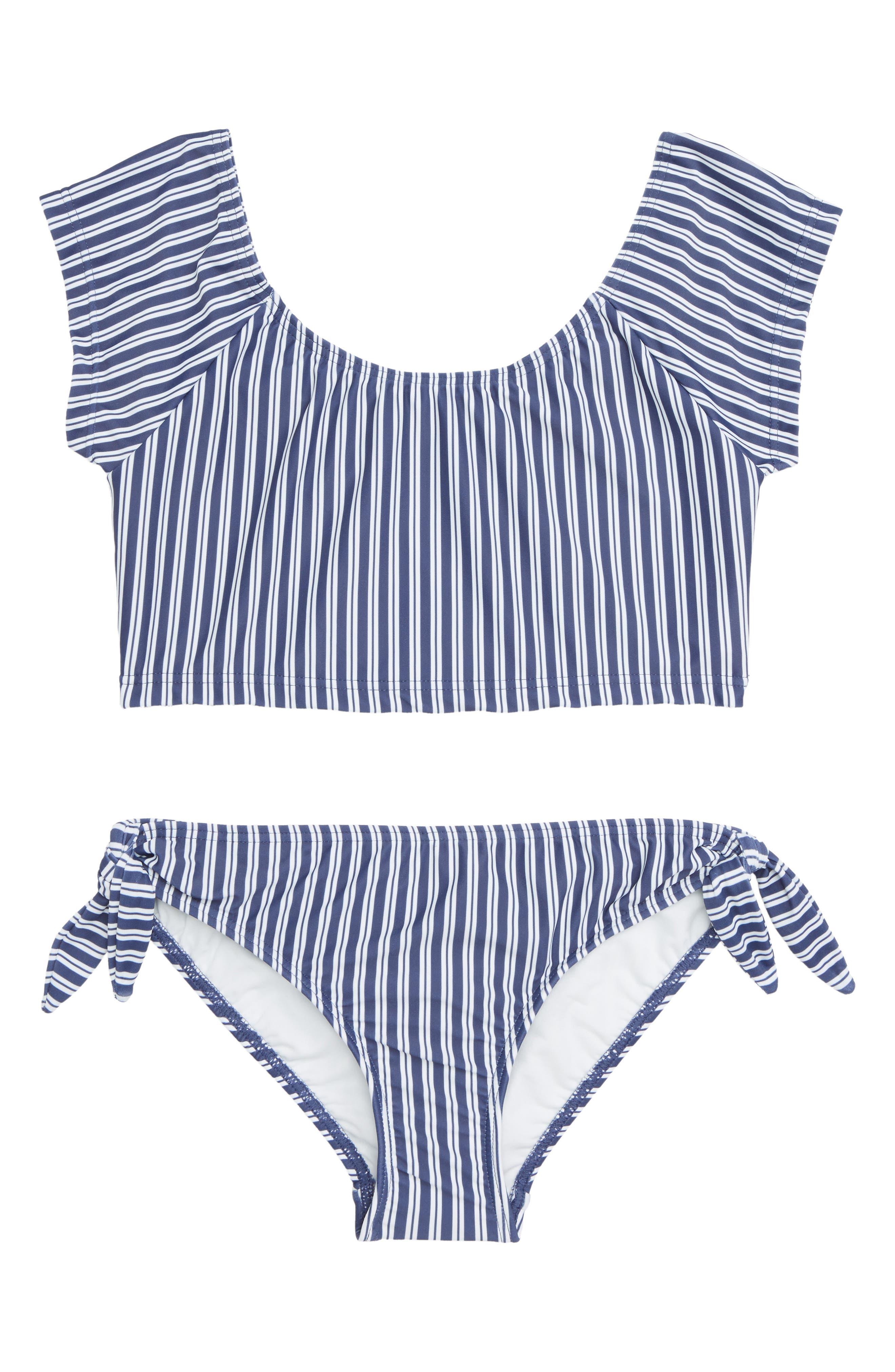 Seafolly Ocean Tapestry Stripe Two-Piece Swimsuit (Big Girls)