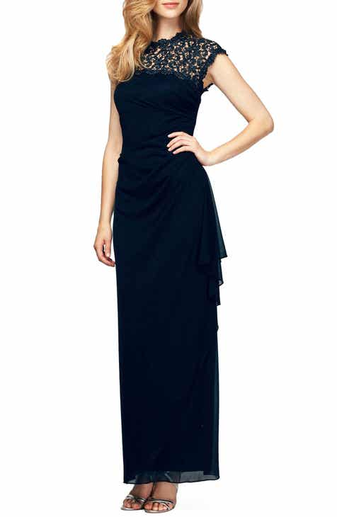 466429ffc9255 Alex Evenings Illusion Yoke Mesh Gown (Regular & Petite)