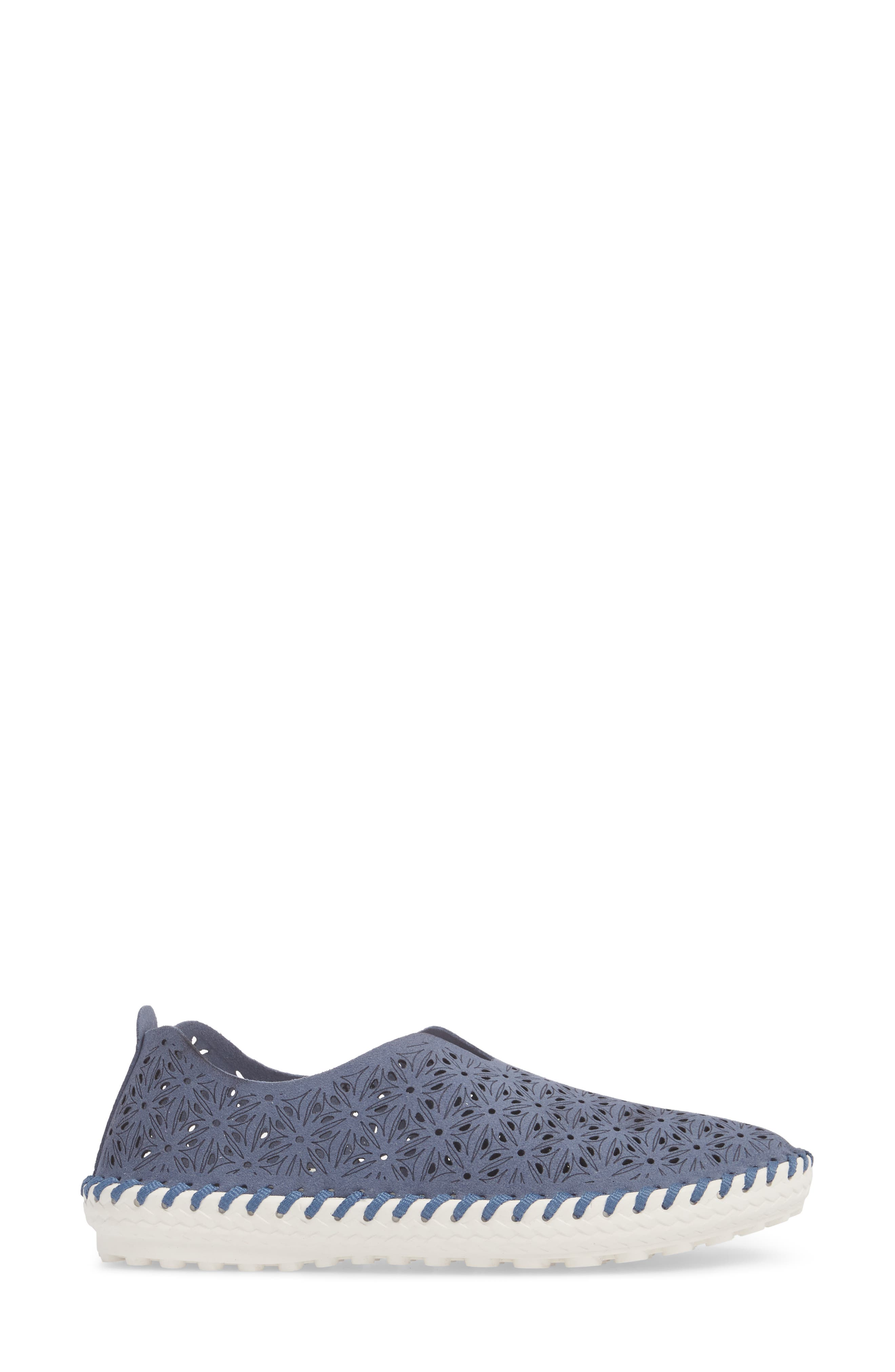 Perforated Slip-On Flat,                             Alternate thumbnail 3, color,                             Navy Leather