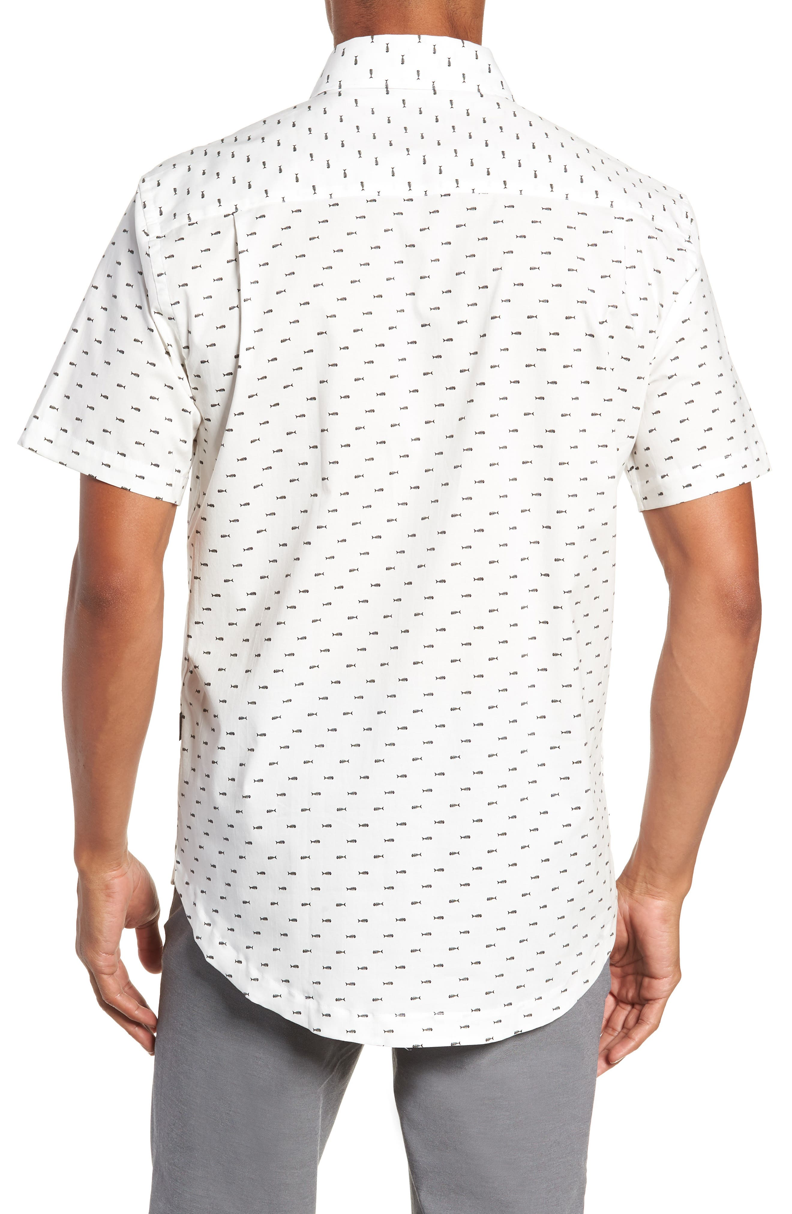 Cabana Regular Fit Sport Shirt,                             Alternate thumbnail 3, color,                             Fish Bones