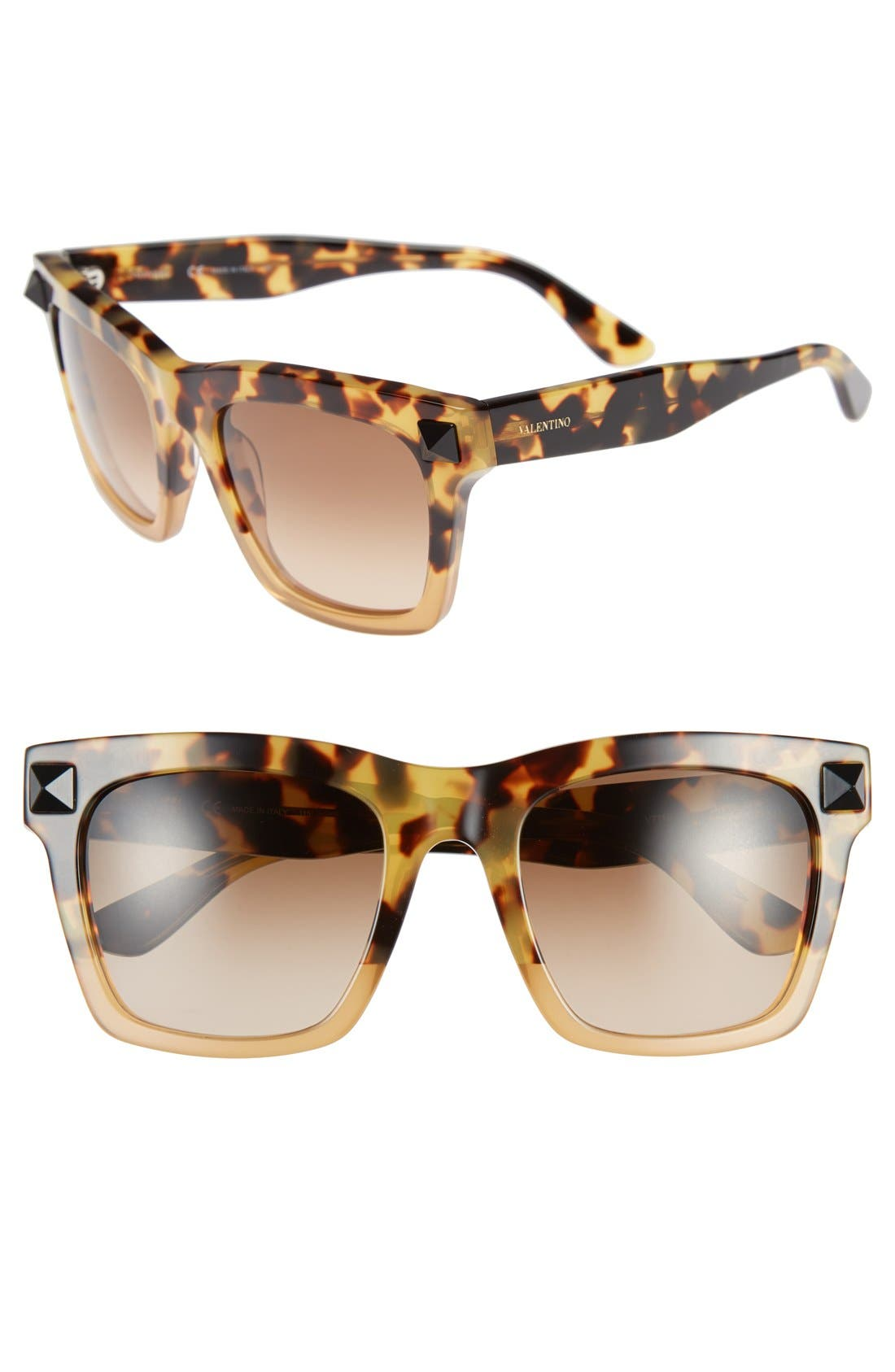 'Rockstud' 54mm Sunglasses,                         Main,                         color, Tokyo Havana