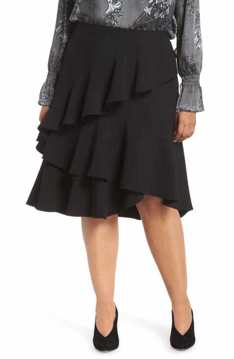 6ef4bcc2b2e1e Vince Camuto Tiered Ruffle Crepe Skirt (Plus Size)