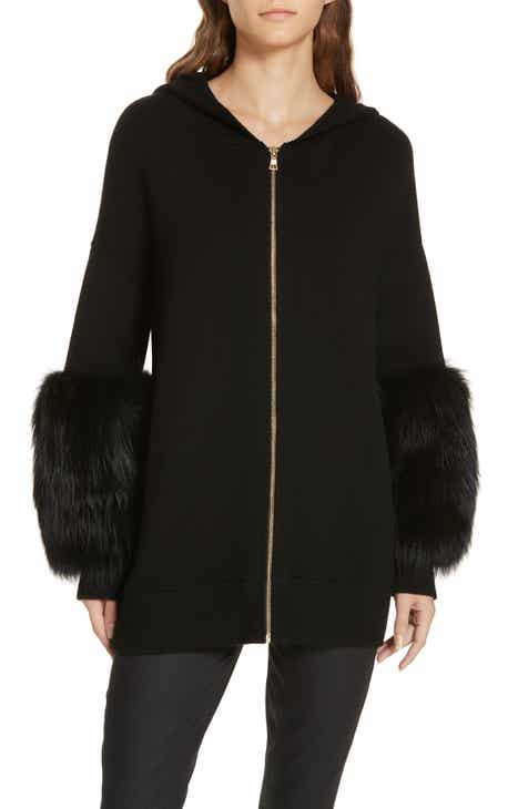 Alice + Olivia Joey Genuine Fox Fur Cuff Hoodie by ALICE AND OLIVIA