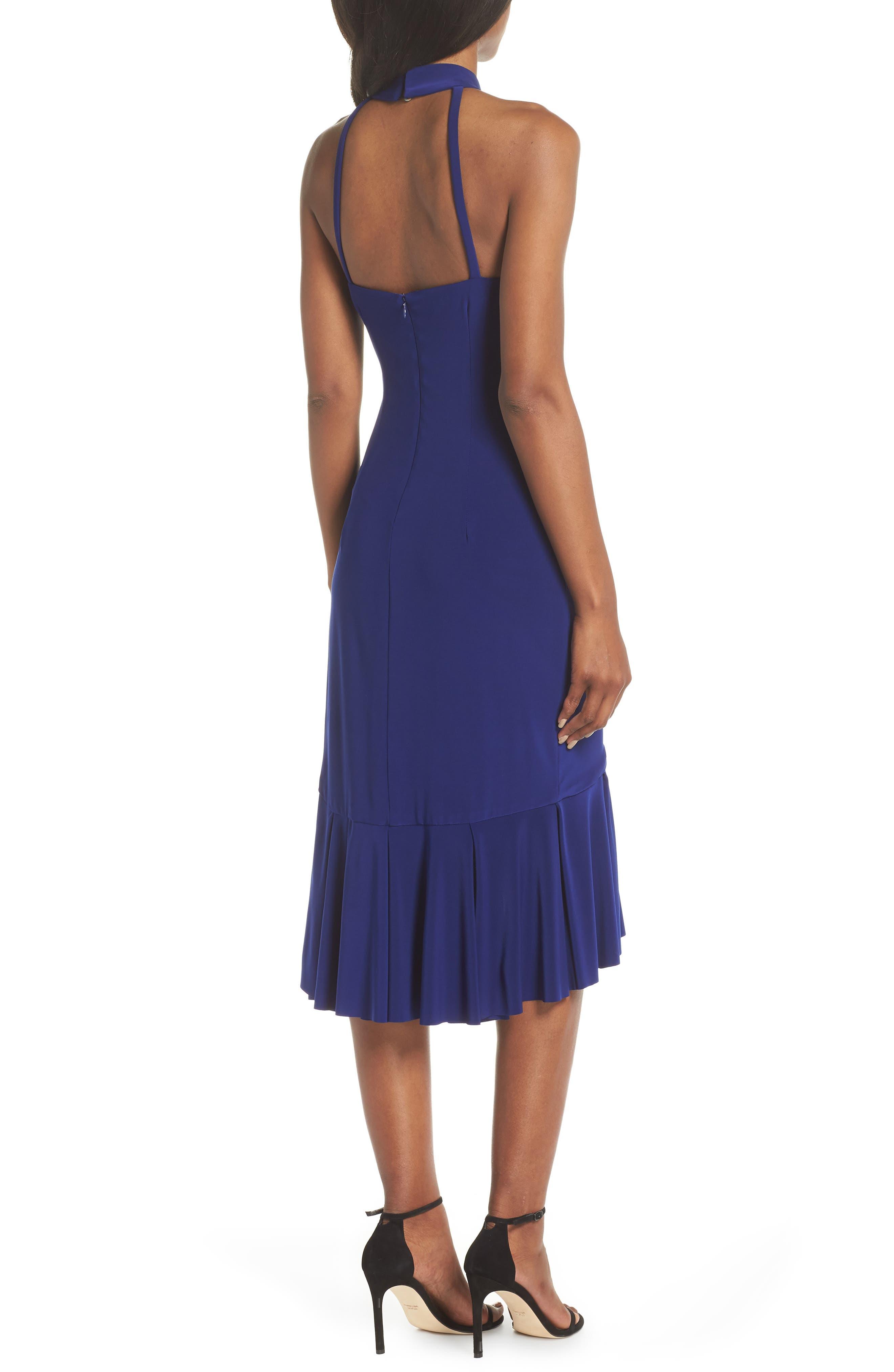 Halter Cascade Dress,                             Alternate thumbnail 2, color,                             Cobalt