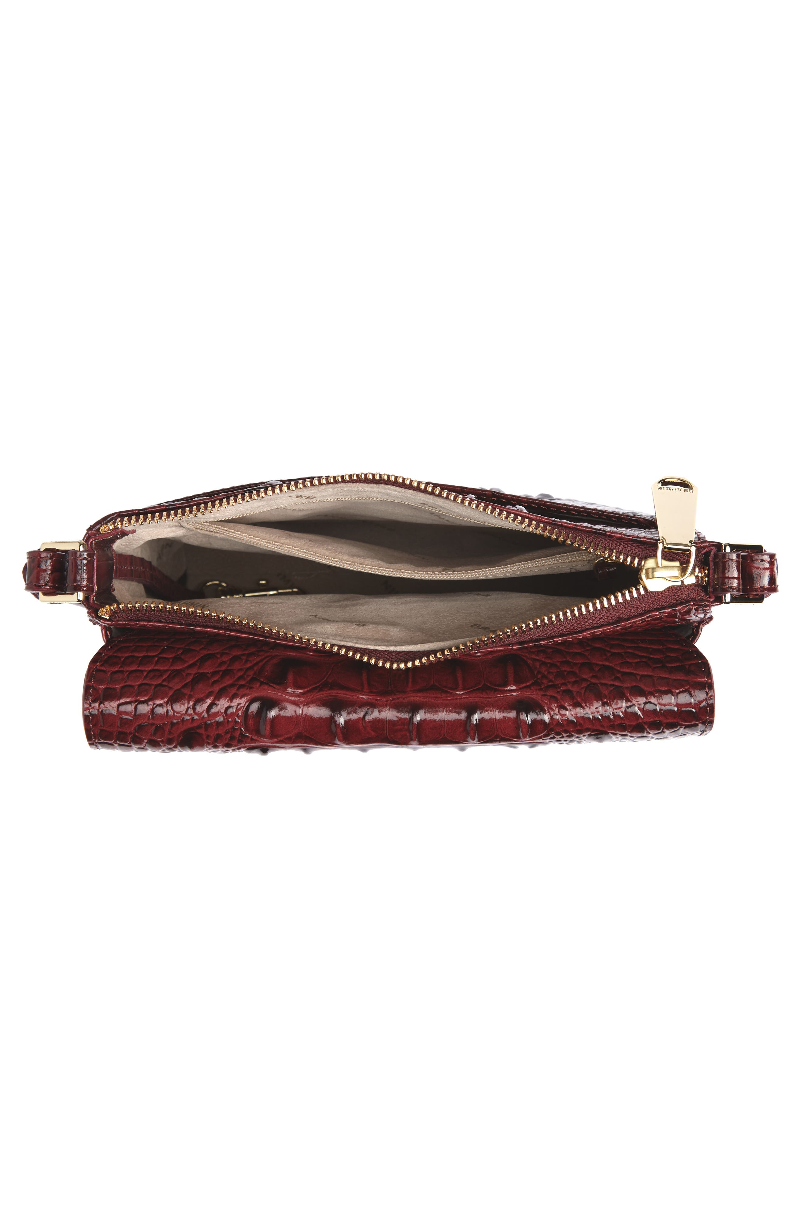 Melbourne Manhattan Croc Embossed Leather Crossbody Bag,                             Alternate thumbnail 6, color,                             Tart