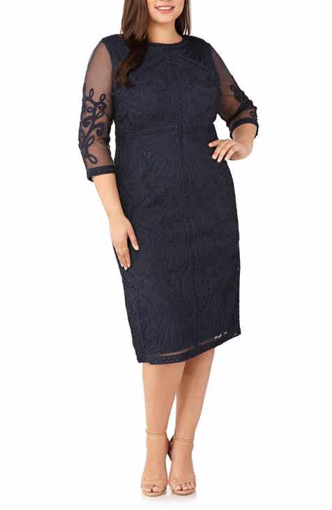JS Collections Sheer Sleeve Soutache Sheath Dress (Plus Size)
