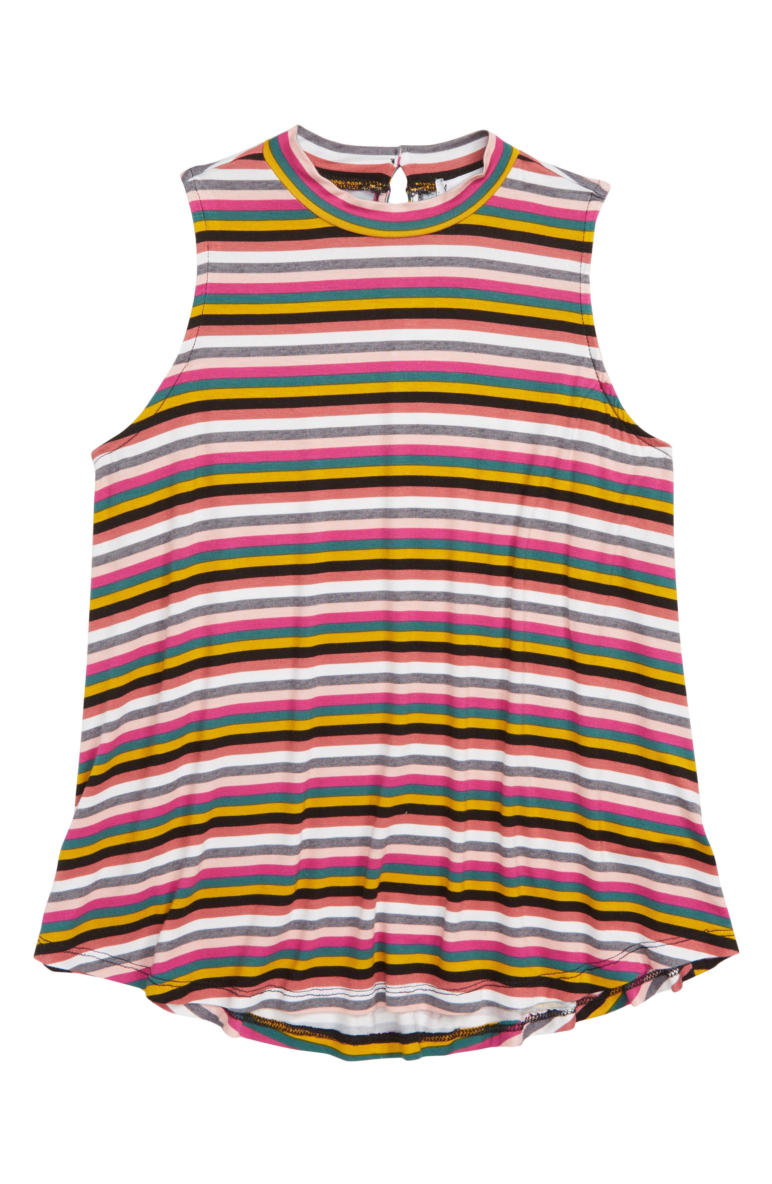 Stripe Sleeveless Mock Neck Tank,                         Main,                         color, Pink