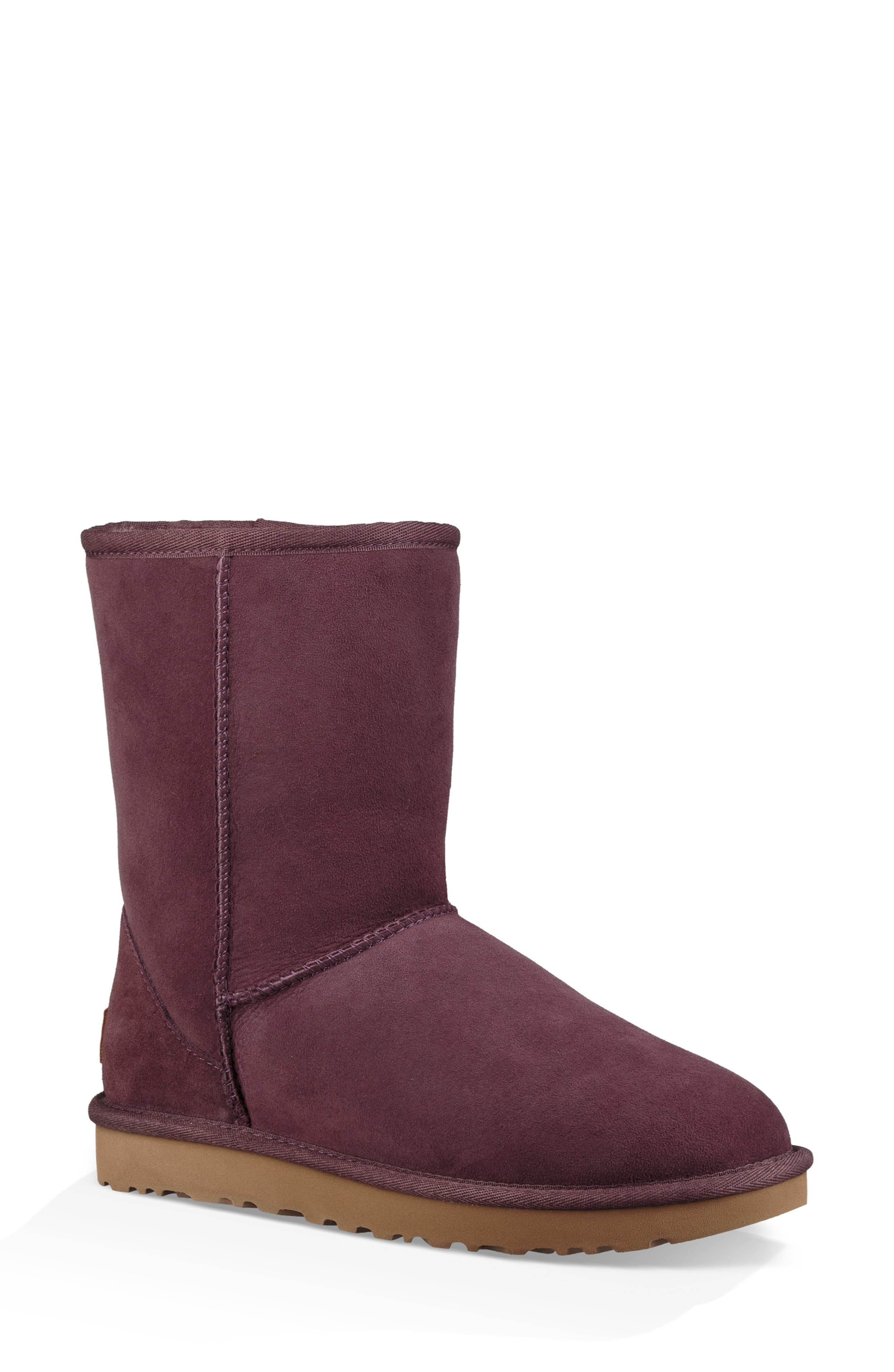 'Classic II' Genuine Shearling Lined Short Boot,                         Main,                         color, Port