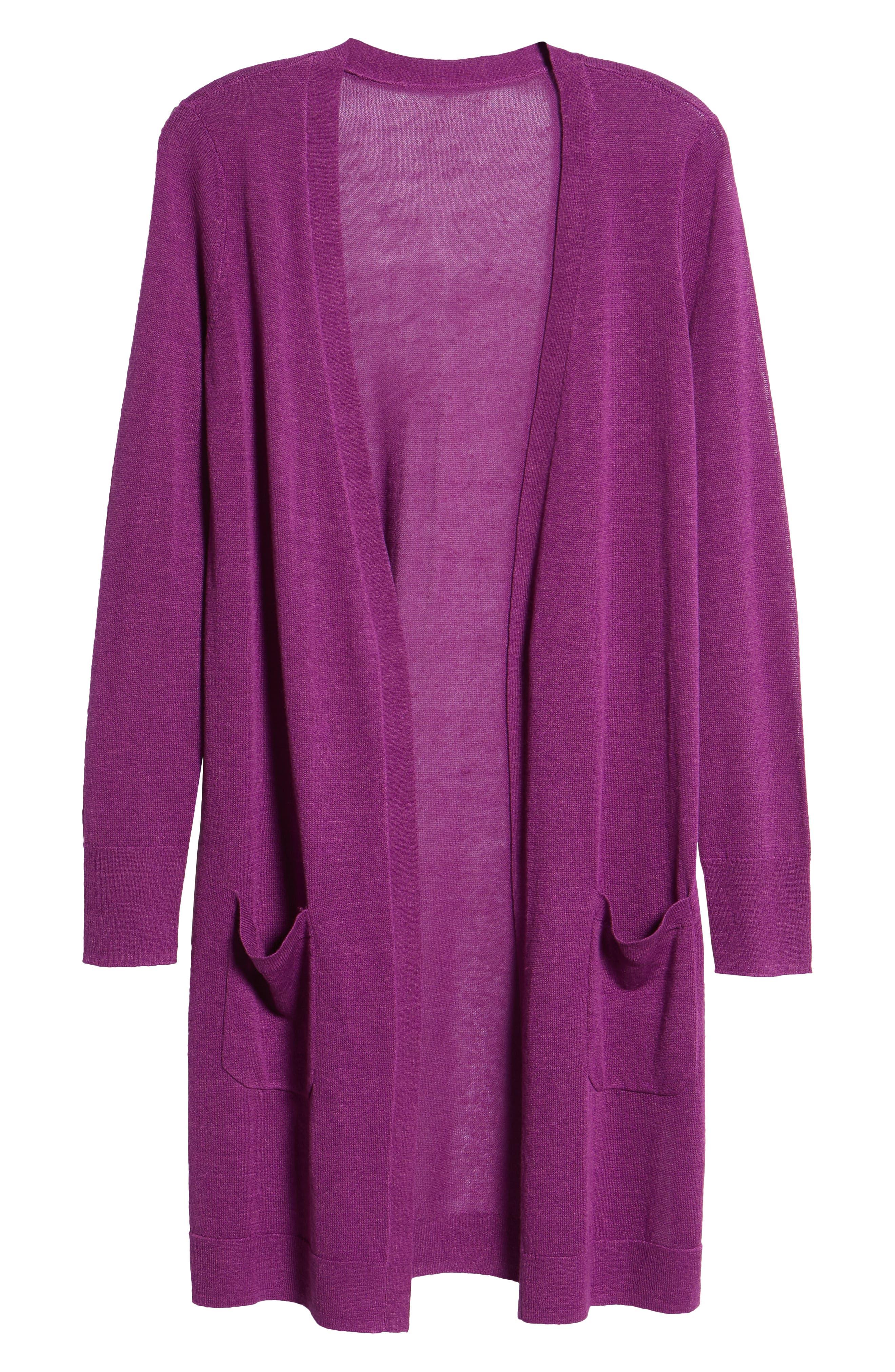 Long Linen Blend Cardigan,                             Alternate thumbnail 7, color,                             Purple Sparkle