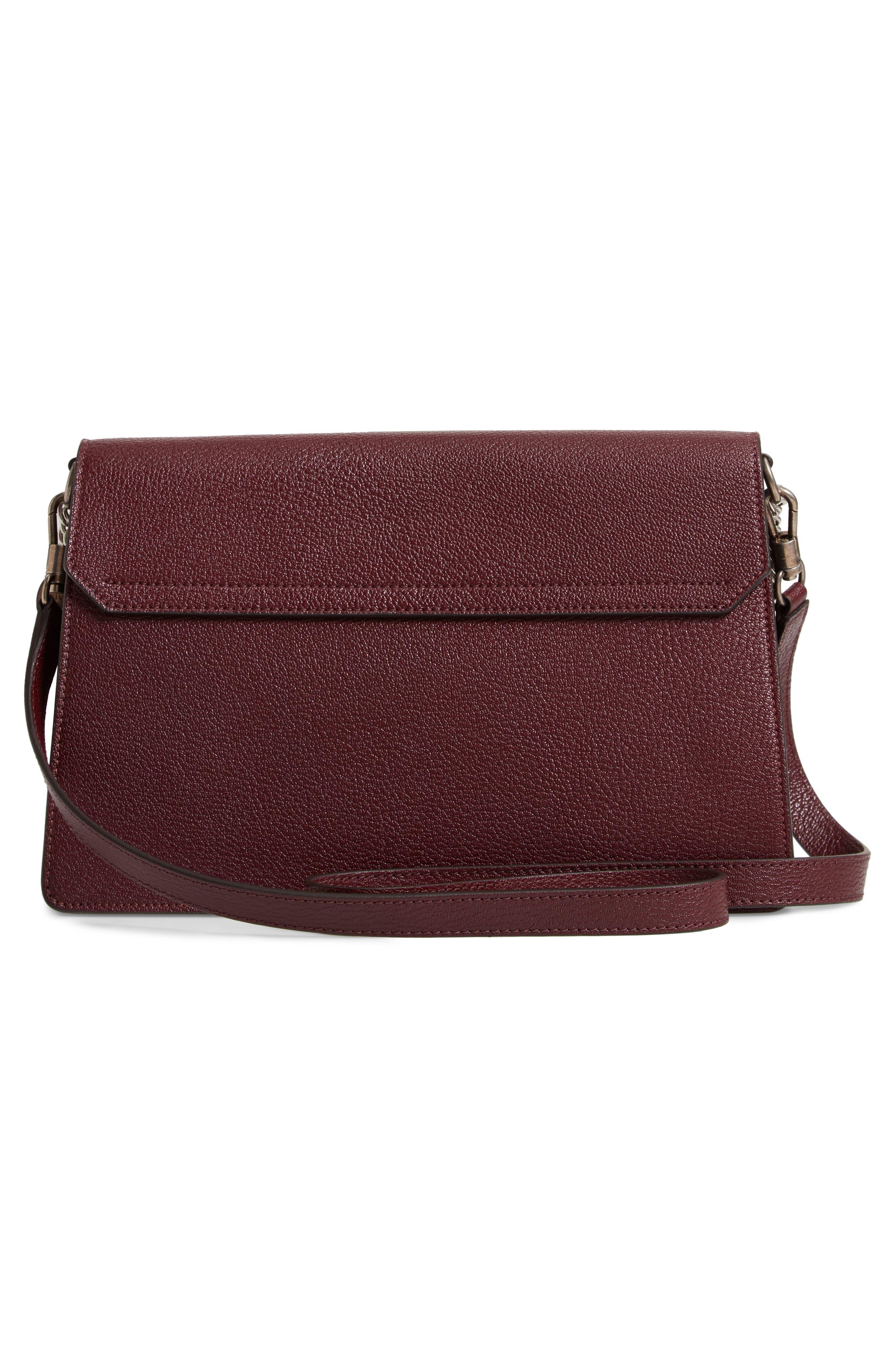 GV3 Goatskin Leather Shoulder Bag,                             Alternate thumbnail 3, color,                             Aubergine