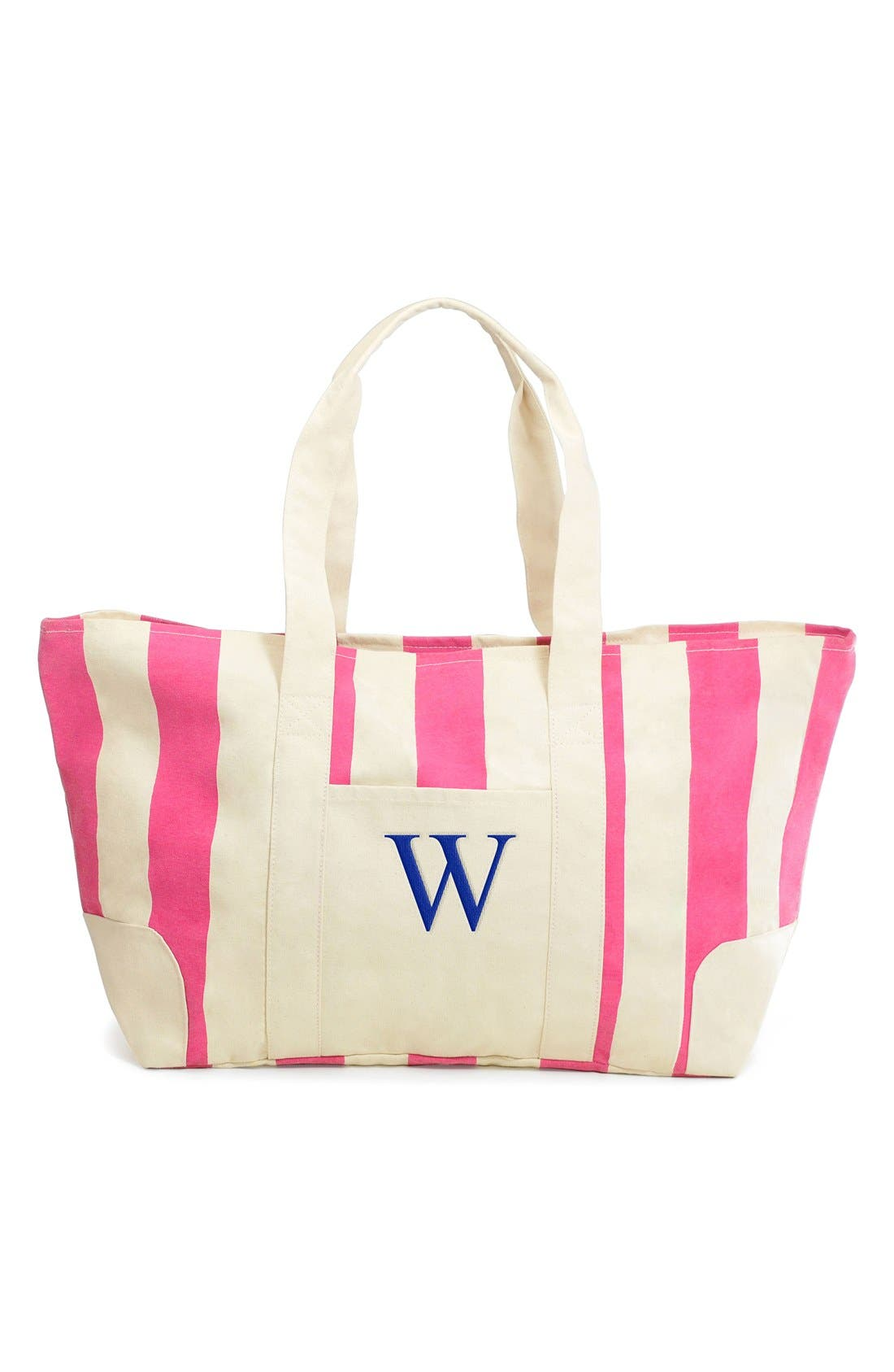 Main Image - Cathy's Concepts Monogram Stripe Canvas Tote