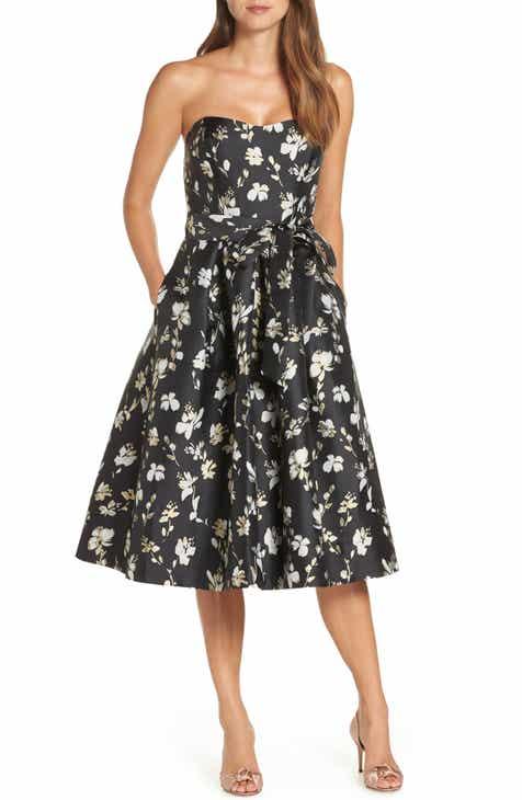 1901 Strapless Floral Jacquard Fit & Flare Midi Dress
