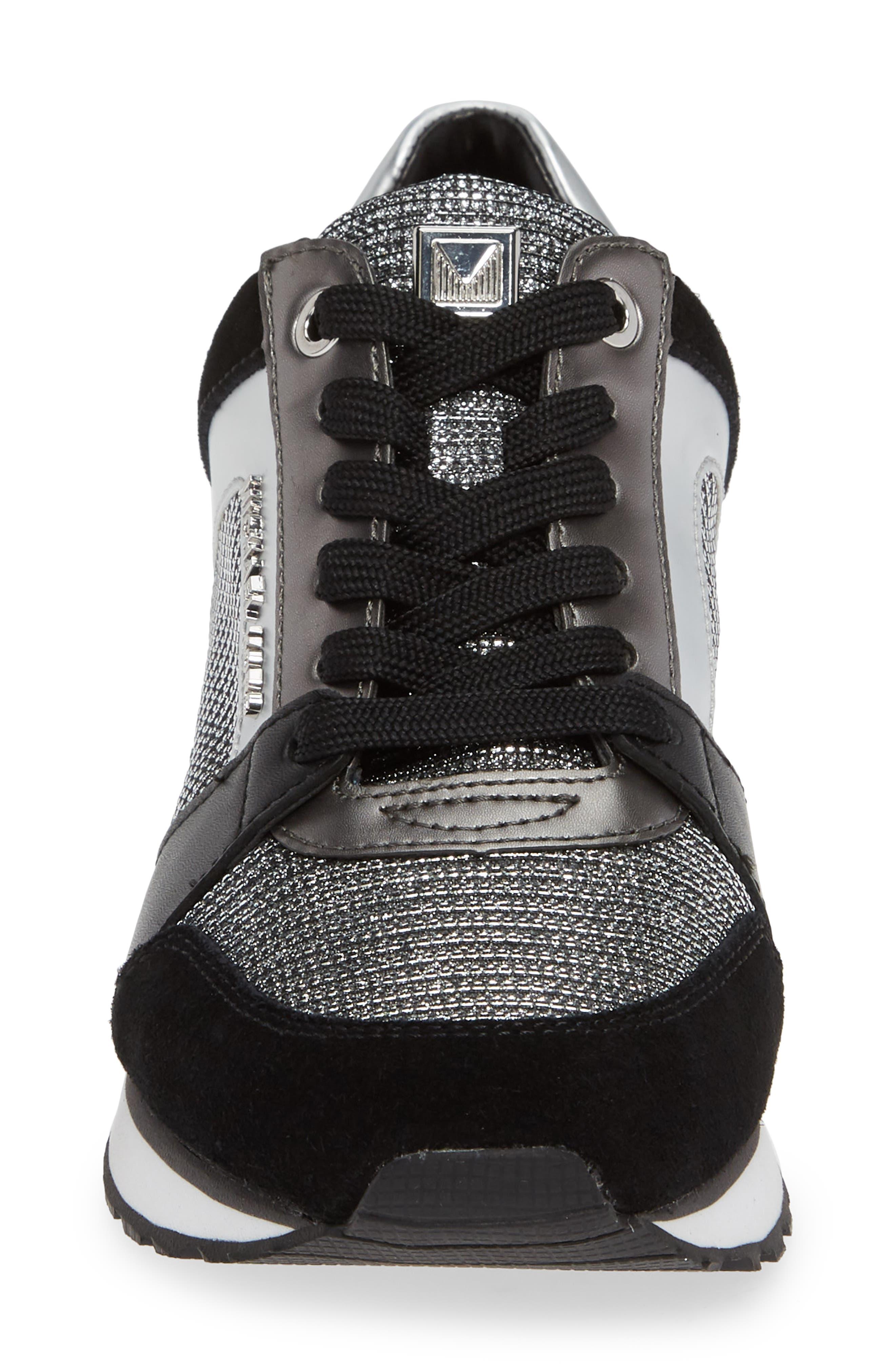 Billie Perforated Sneaker,                             Alternate thumbnail 6, color,                             Black/ Silver