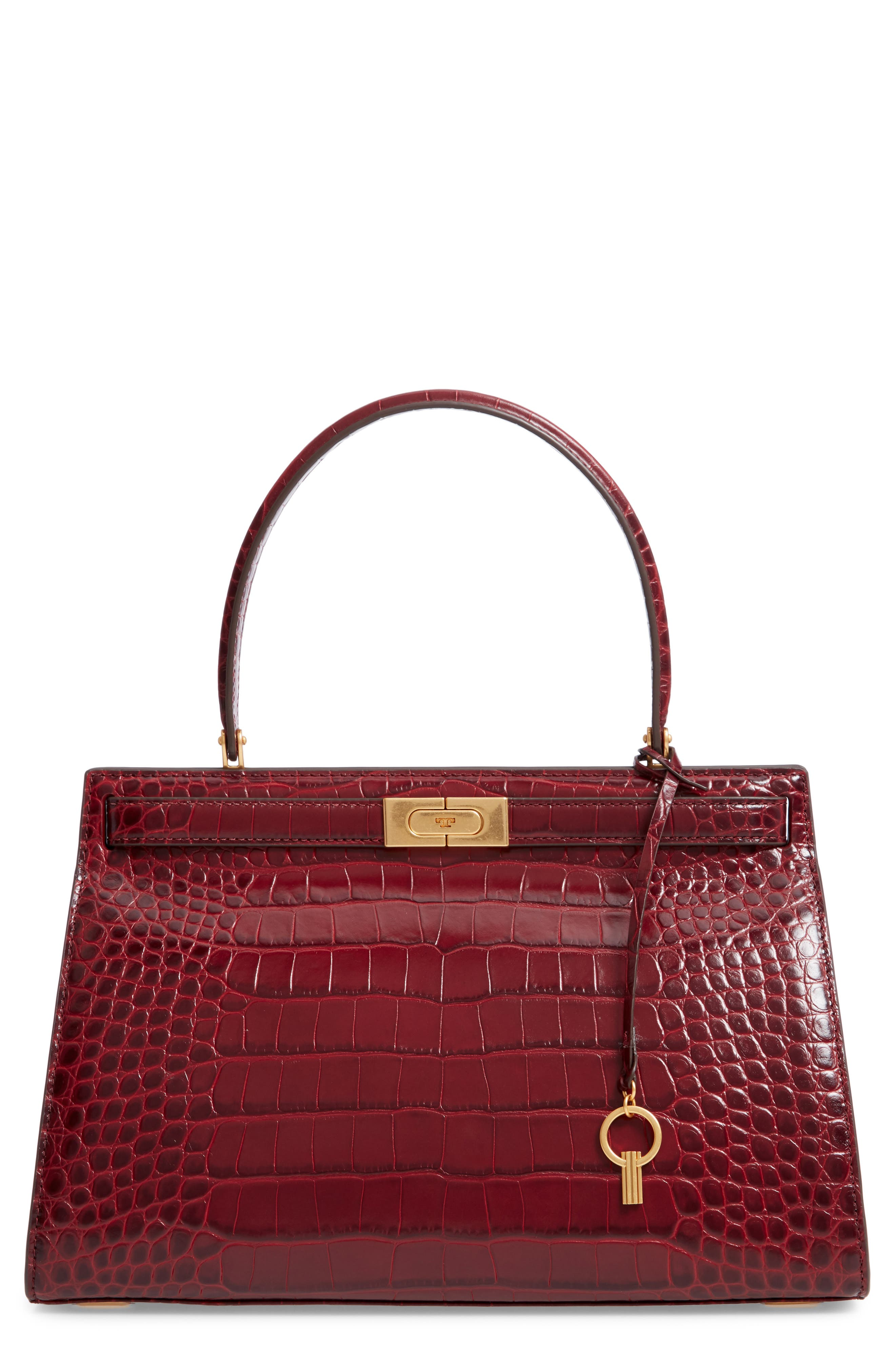 Lee Radziwill Leather Satchel,                         Main,                         color, Claret
