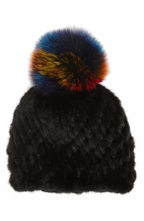 23b49100399 Jocelyn The Supermoon Genuine Mink Fur Hat with Genuine Fox Fur Pom