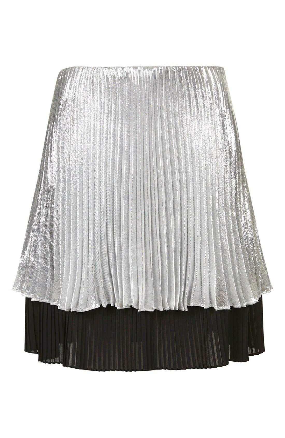 'Sun Ray' Two Tier Pleated Skirt,                             Alternate thumbnail 4, color,                             Silver
